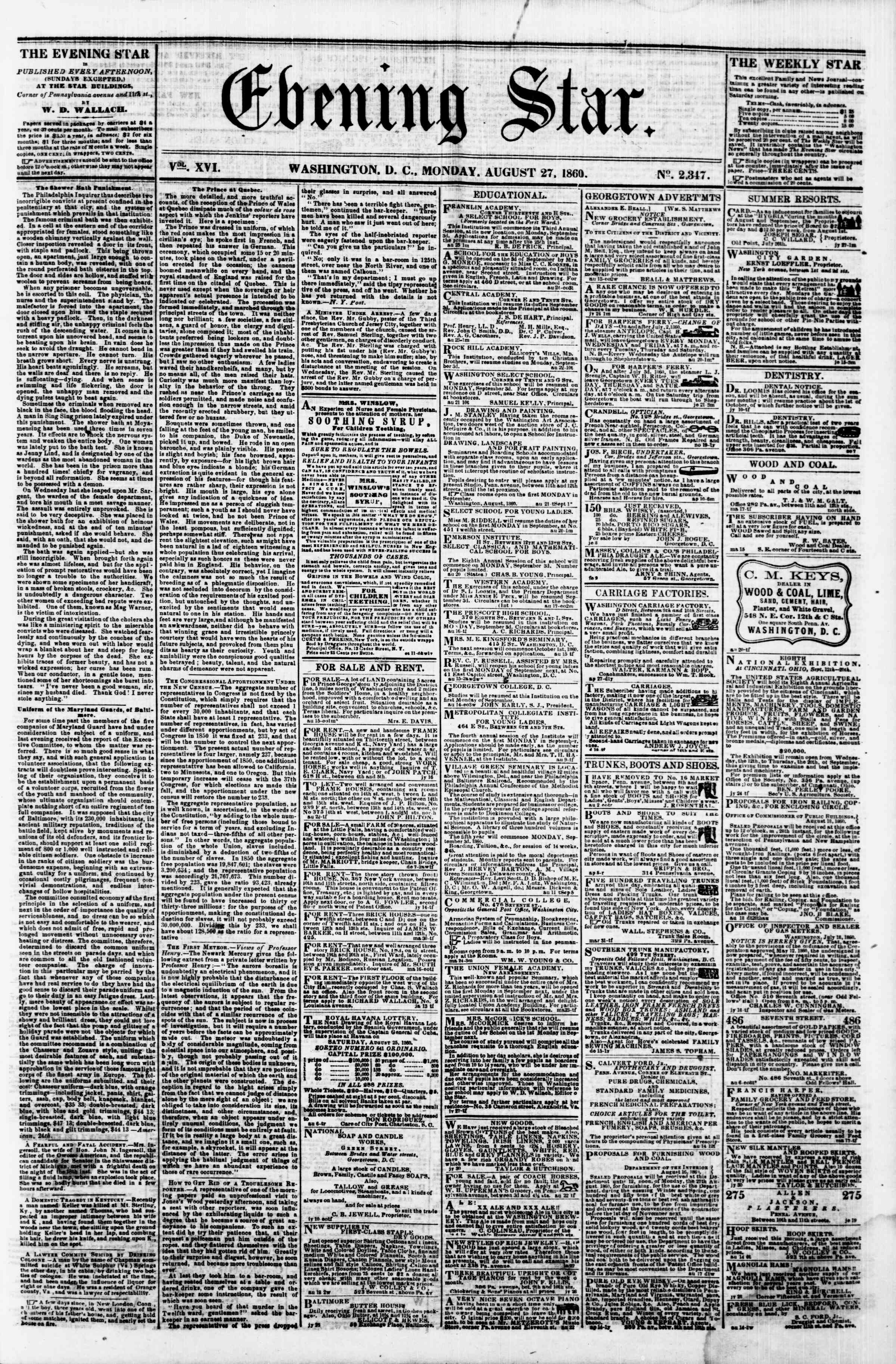 Newspaper of Evening Star dated August 27, 1860 Page 1