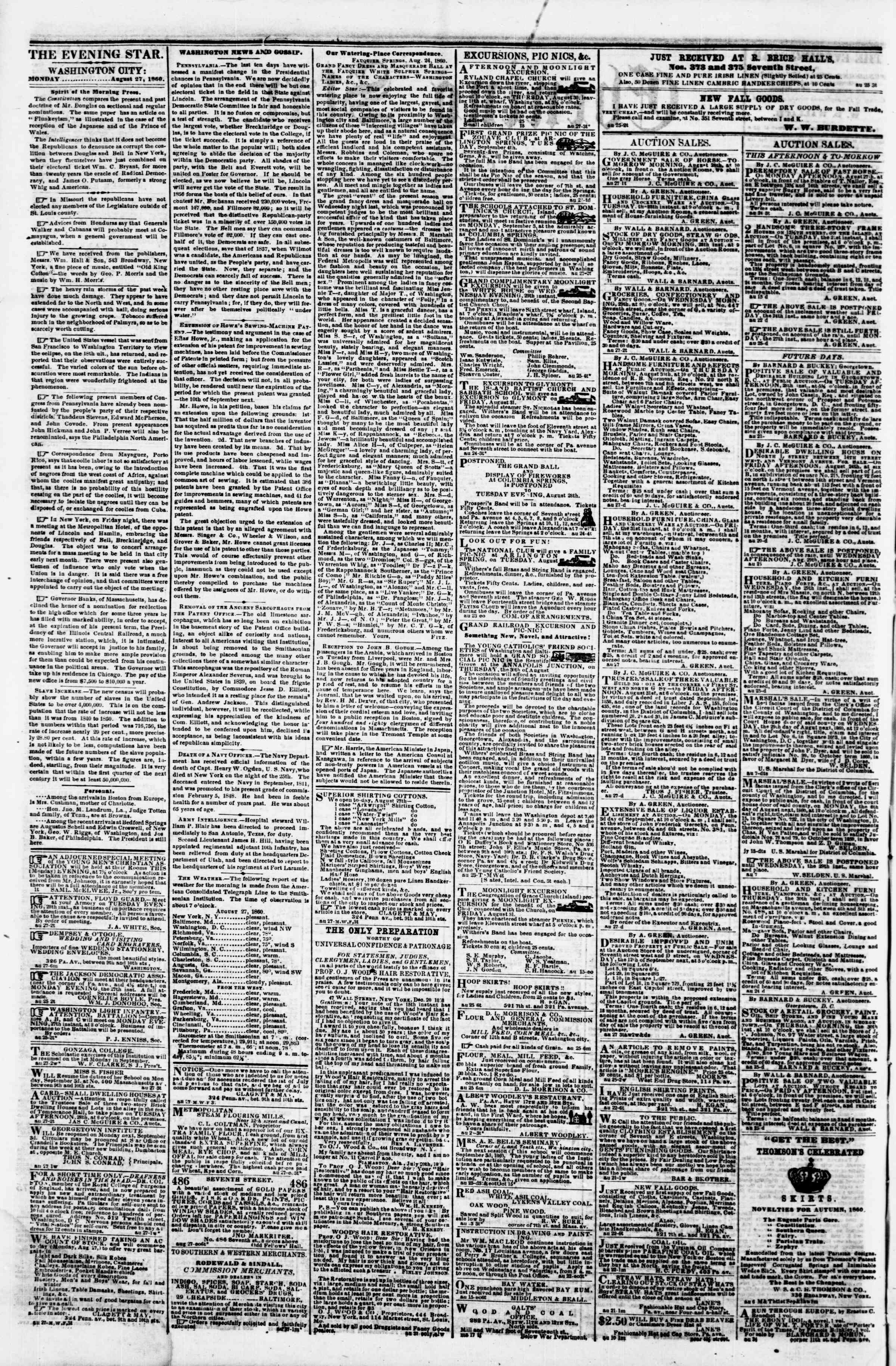 Newspaper of Evening Star dated August 27, 1860 Page 2