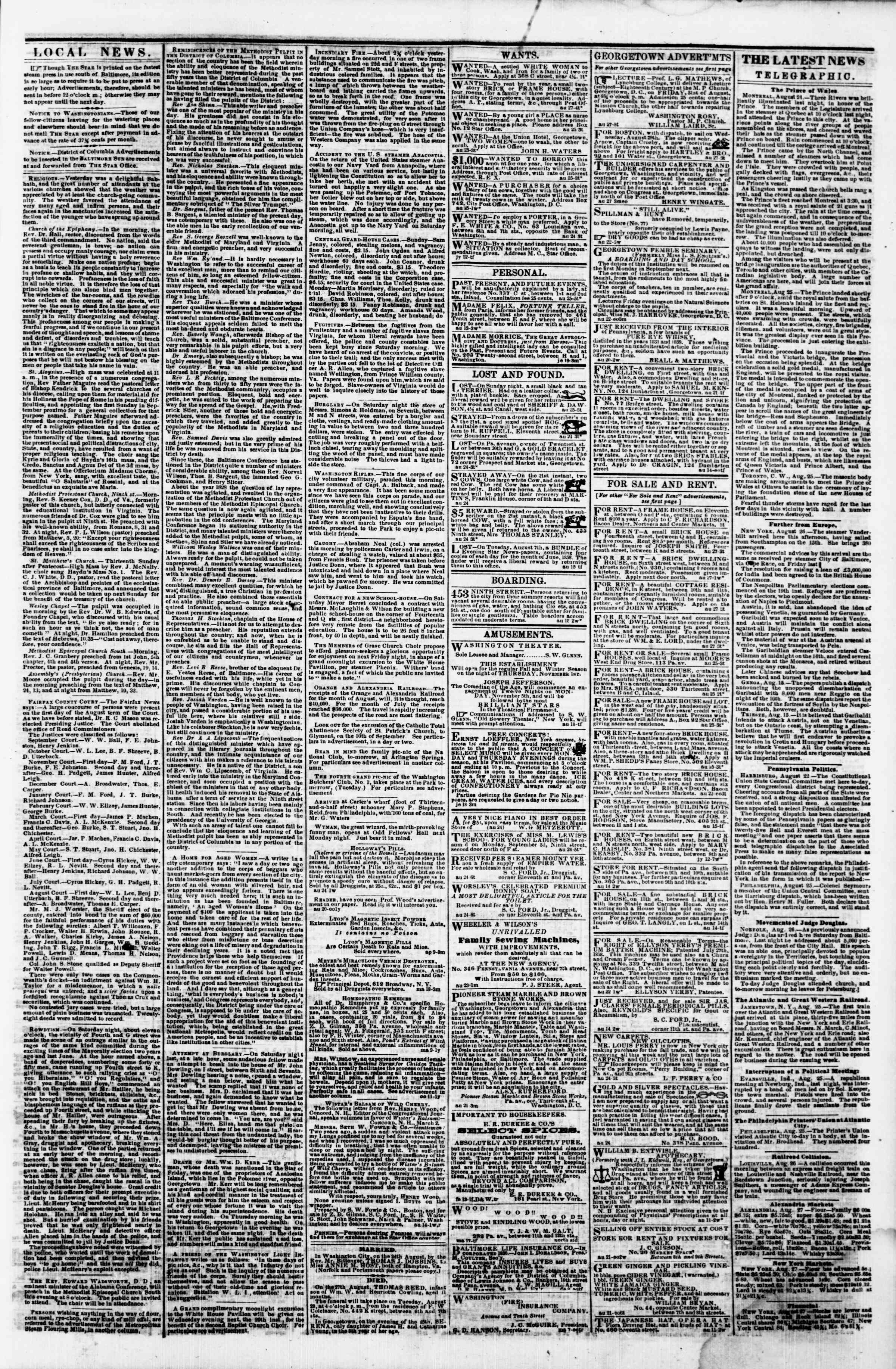 Newspaper of Evening Star dated August 27, 1860 Page 3