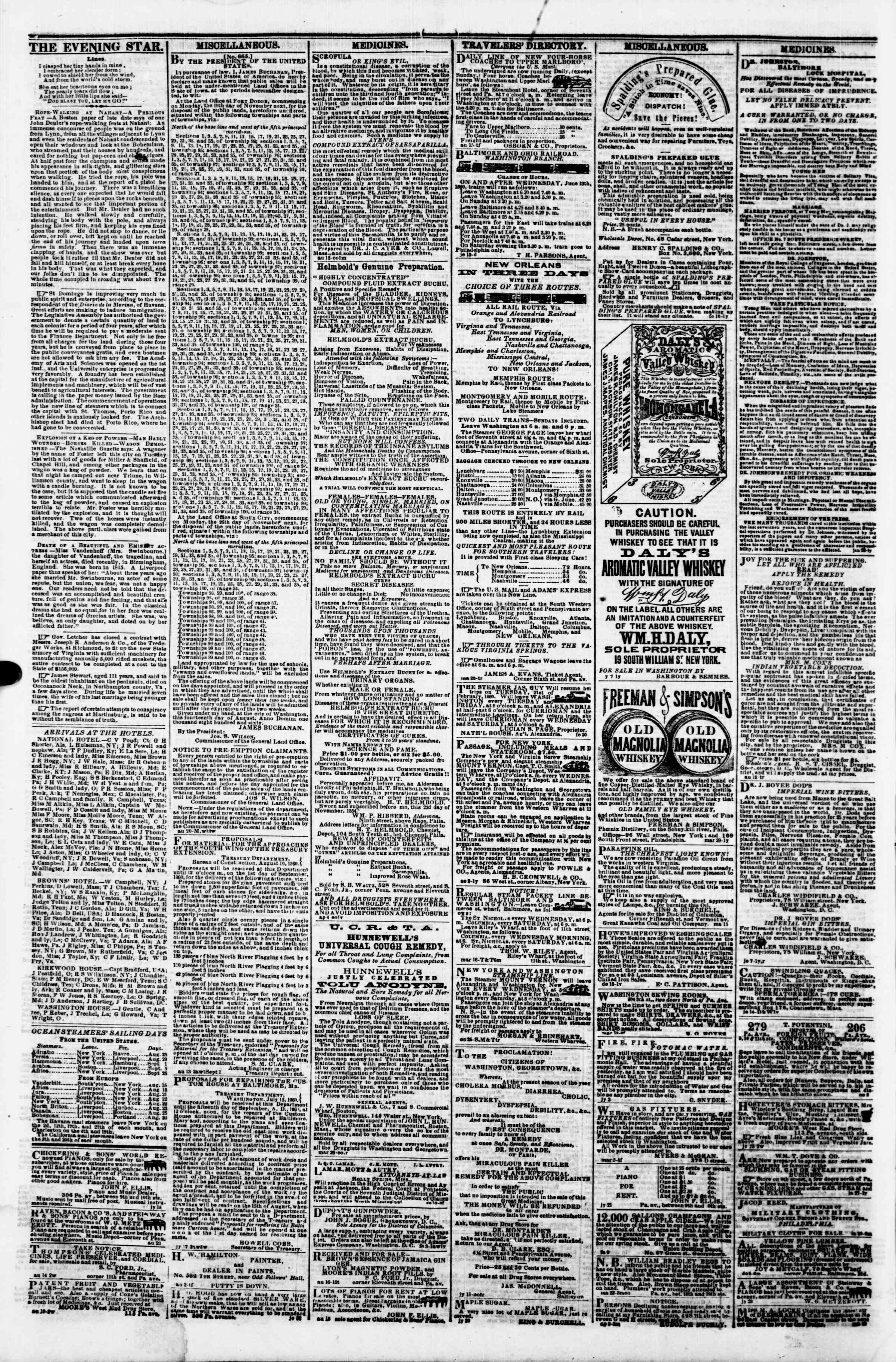Newspaper of Evening Star dated August 27, 1860 Page 4