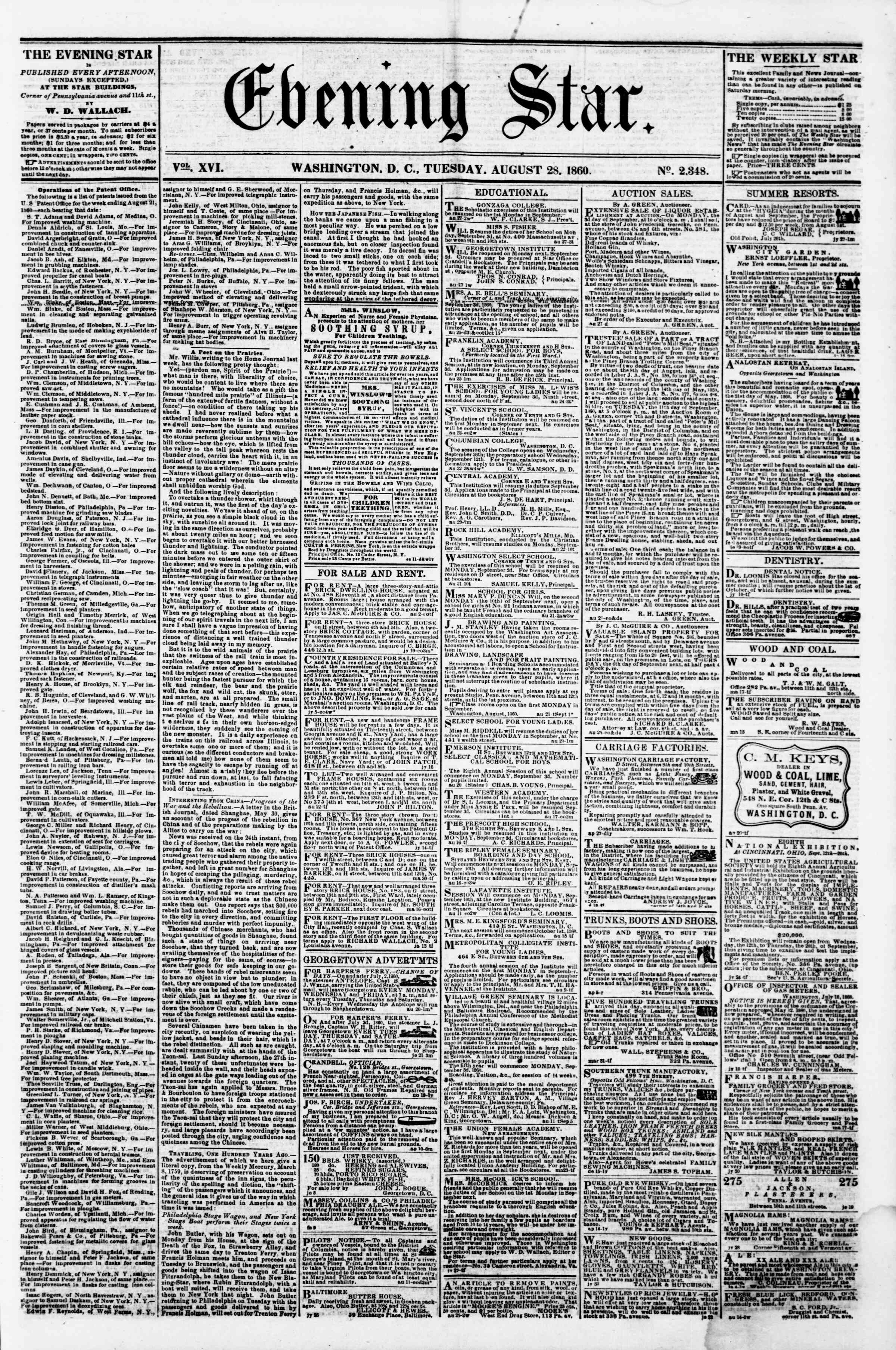 Newspaper of Evening Star dated August 28, 1860 Page 1