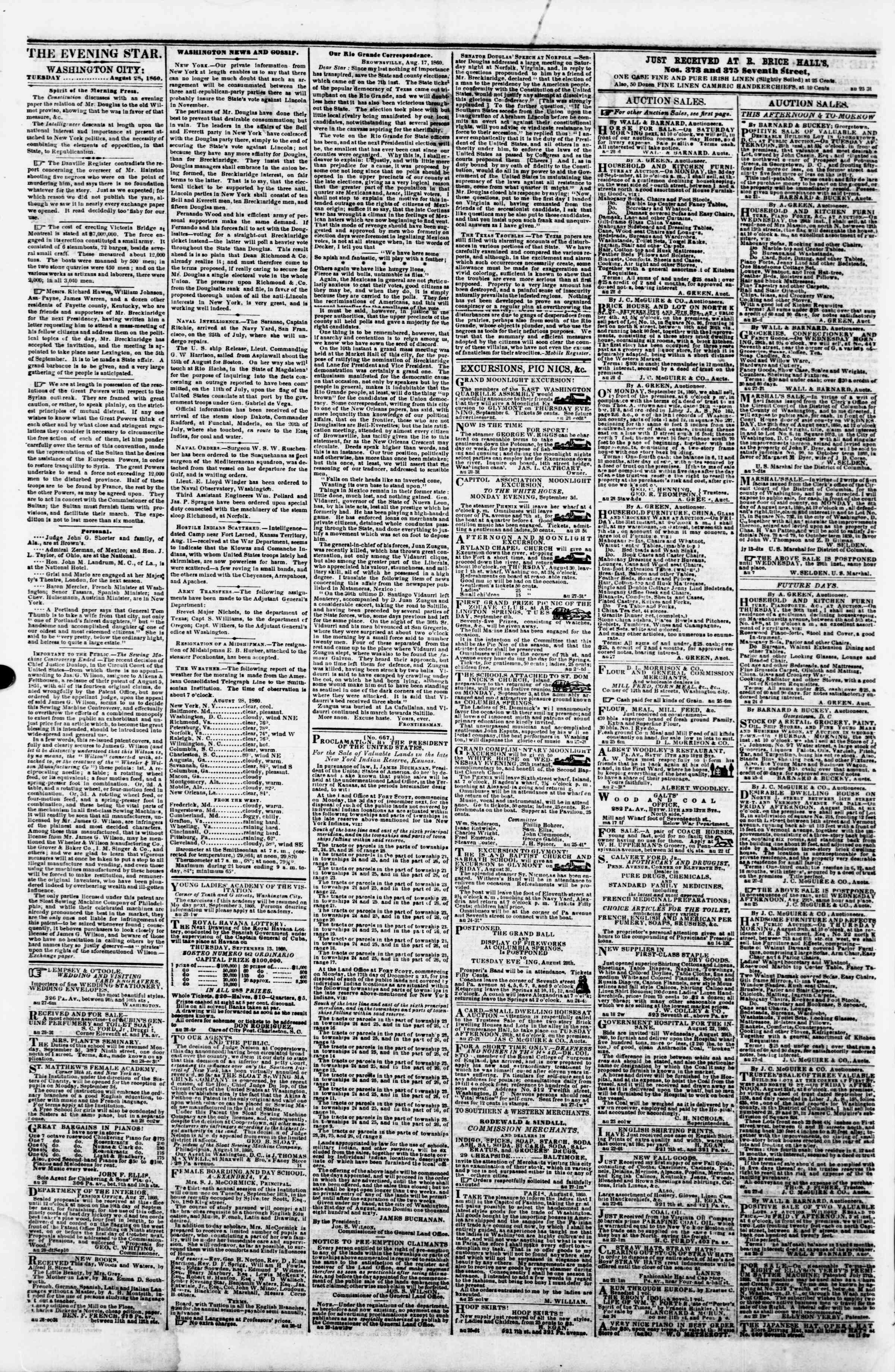 Newspaper of Evening Star dated August 28, 1860 Page 2