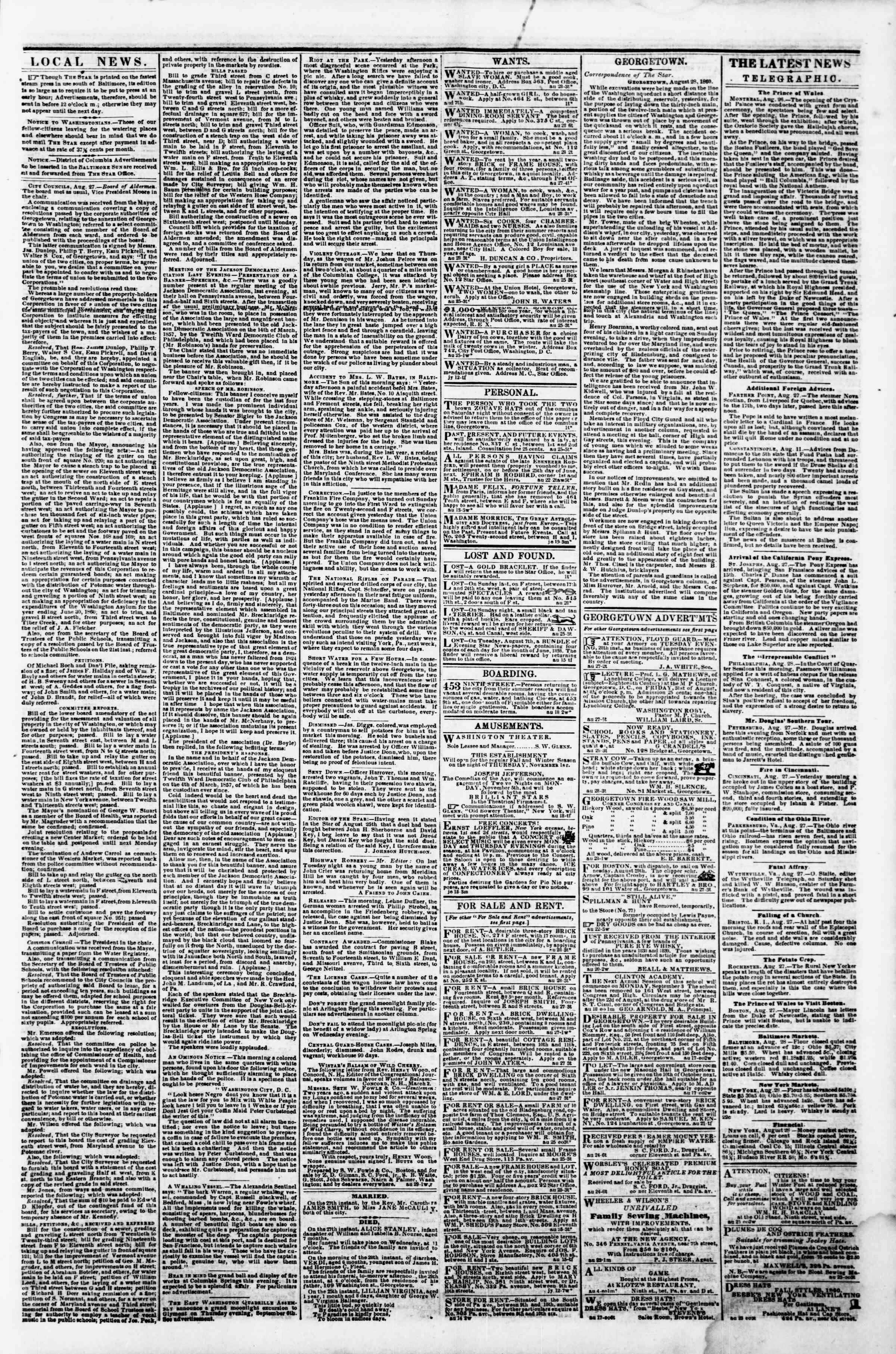 Newspaper of Evening Star dated August 28, 1860 Page 3