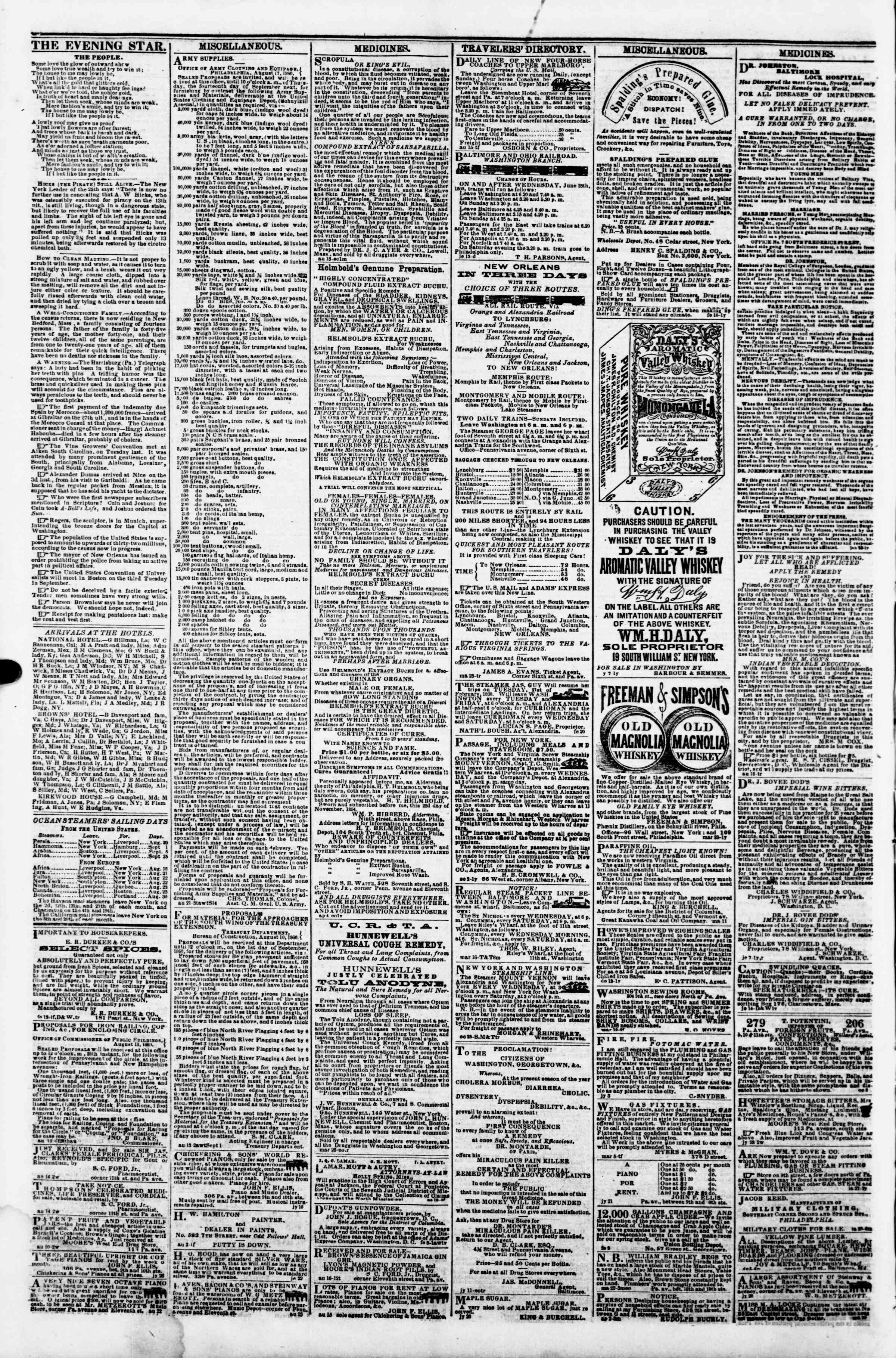 Newspaper of Evening Star dated August 28, 1860 Page 4