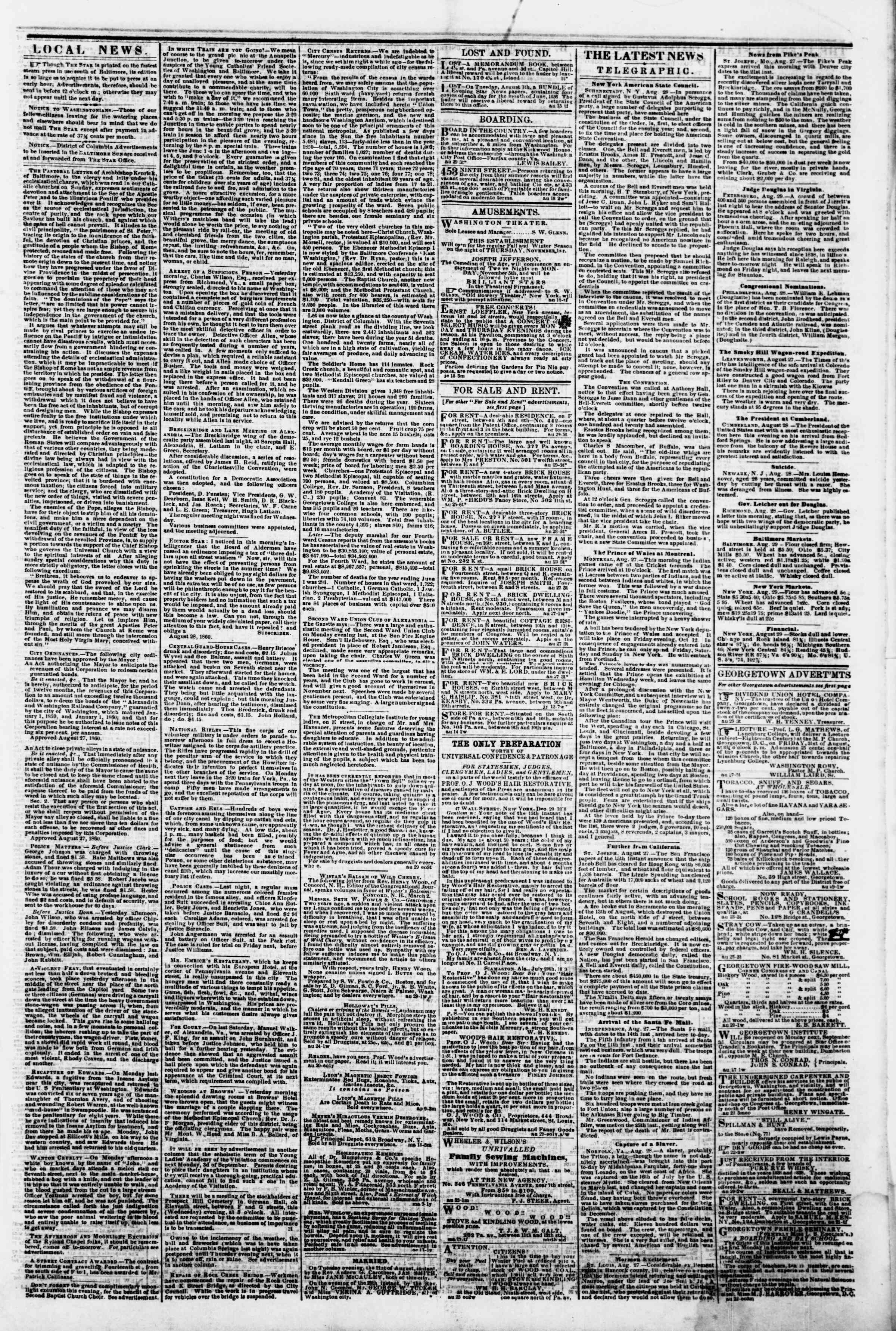 Newspaper of Evening Star dated August 29, 1860 Page 3