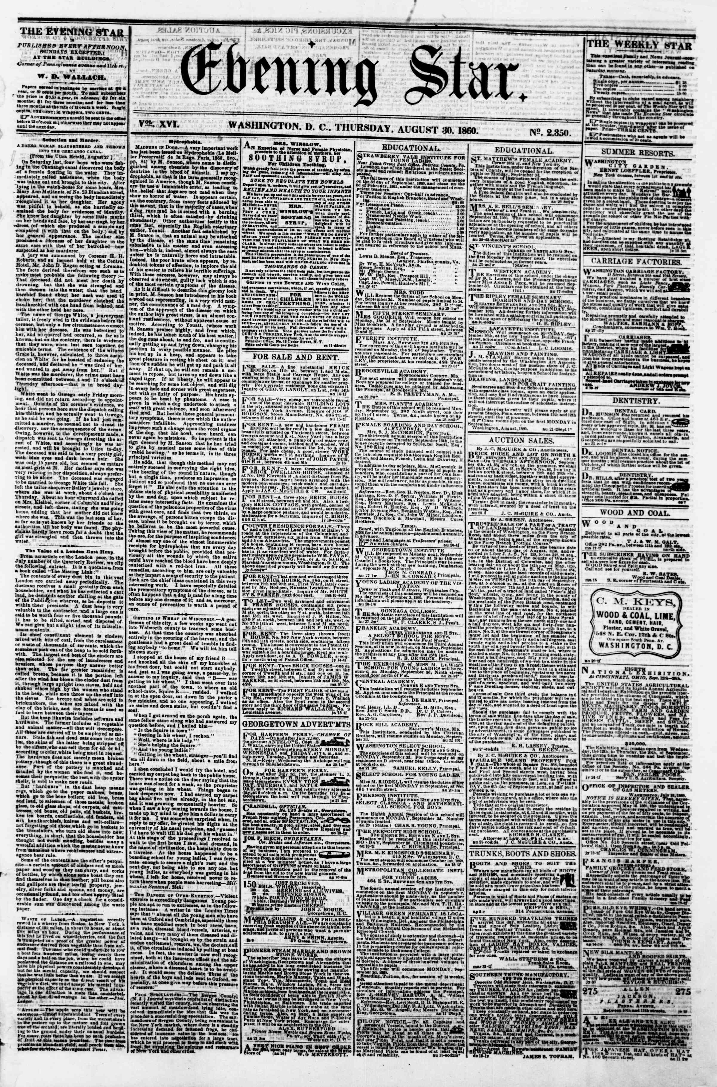 Newspaper of Evening Star dated August 30, 1860 Page 1