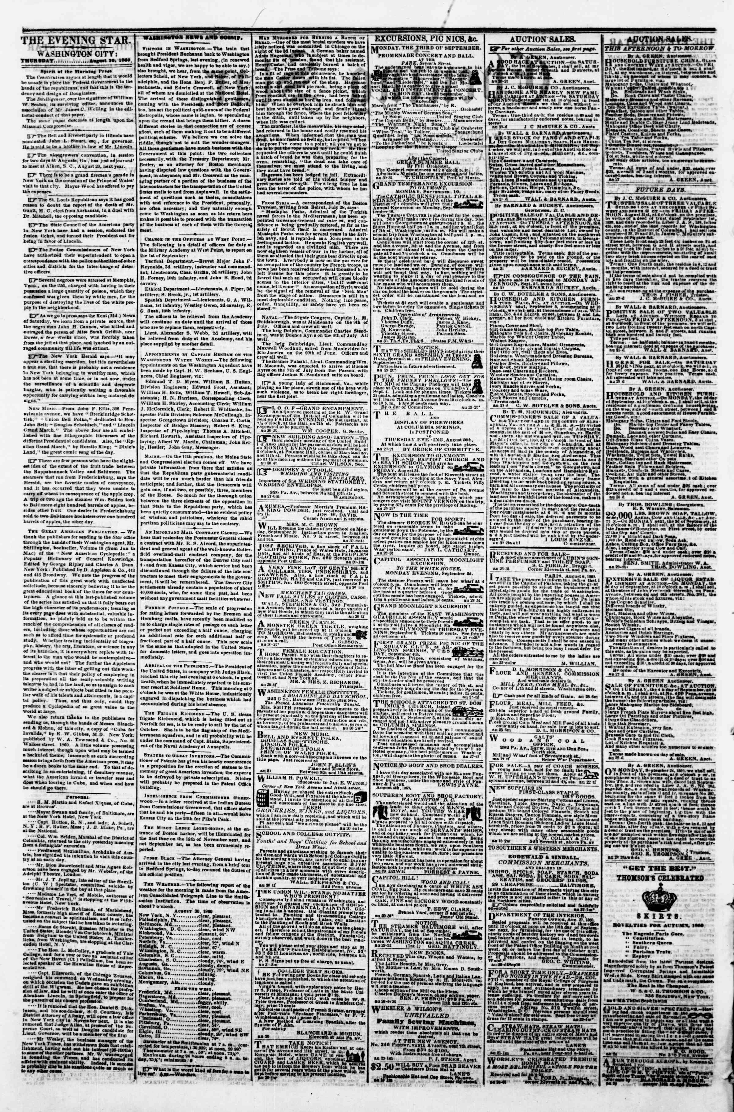 Newspaper of Evening Star dated August 30, 1860 Page 2