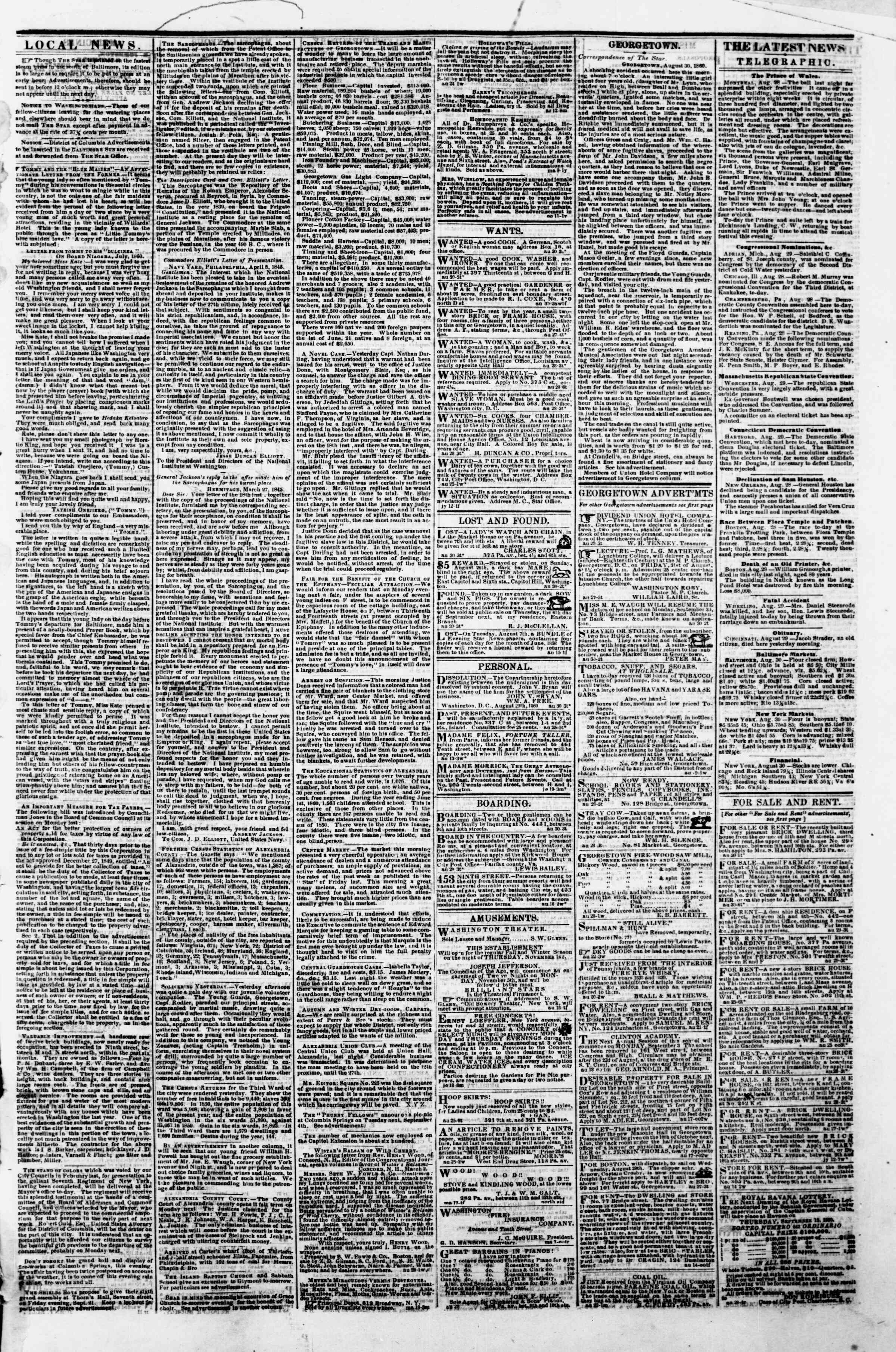 Newspaper of Evening Star dated August 30, 1860 Page 3