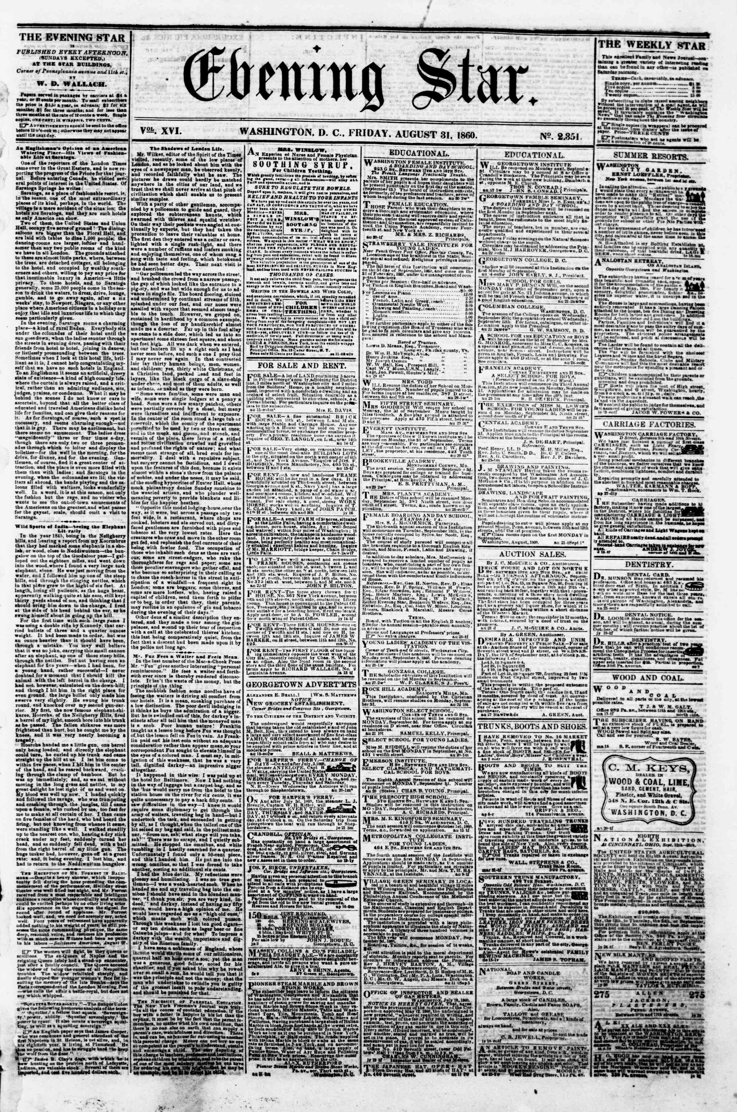 Newspaper of Evening Star dated August 31, 1860 Page 1