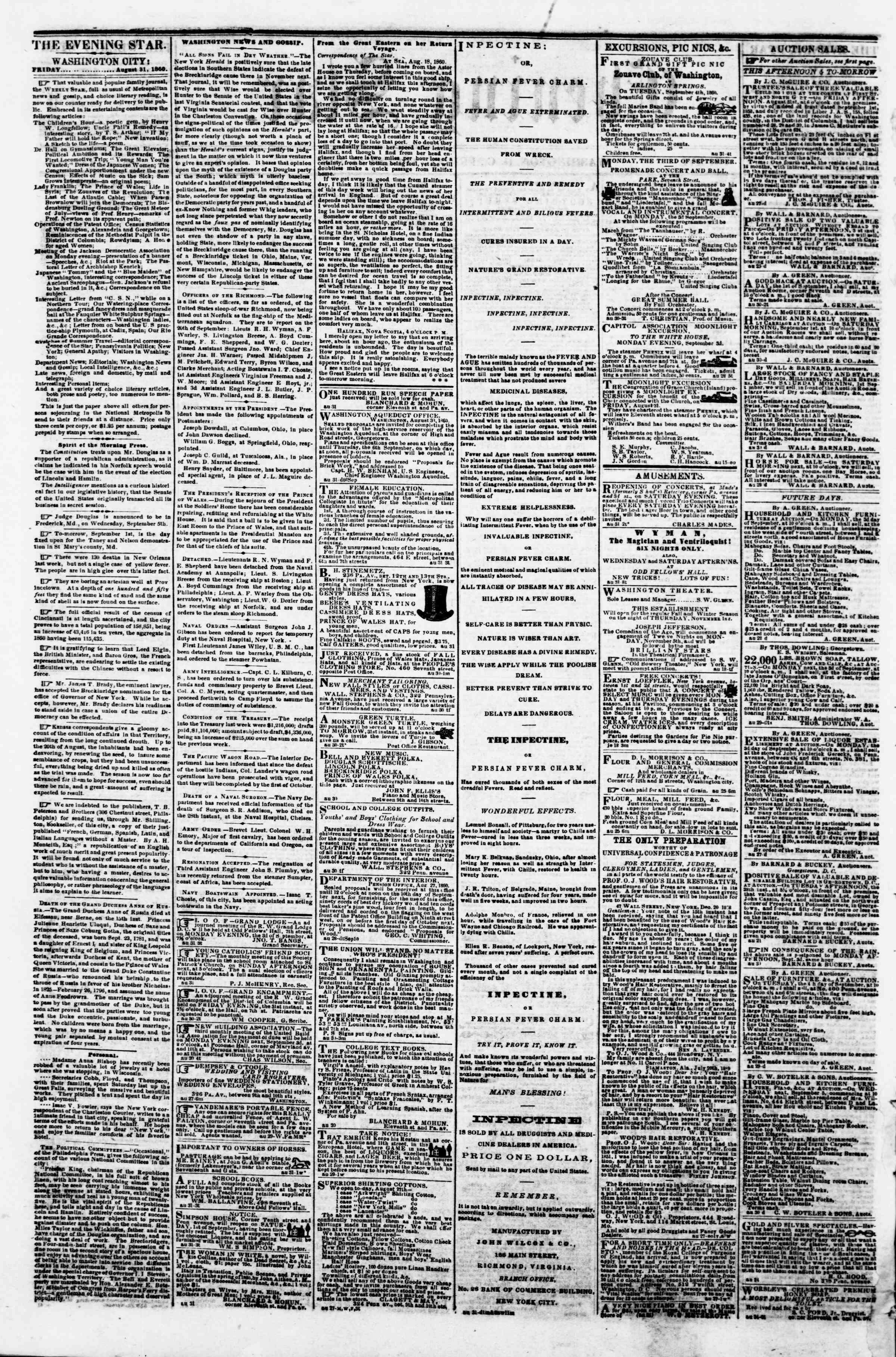Newspaper of Evening Star dated August 31, 1860 Page 2