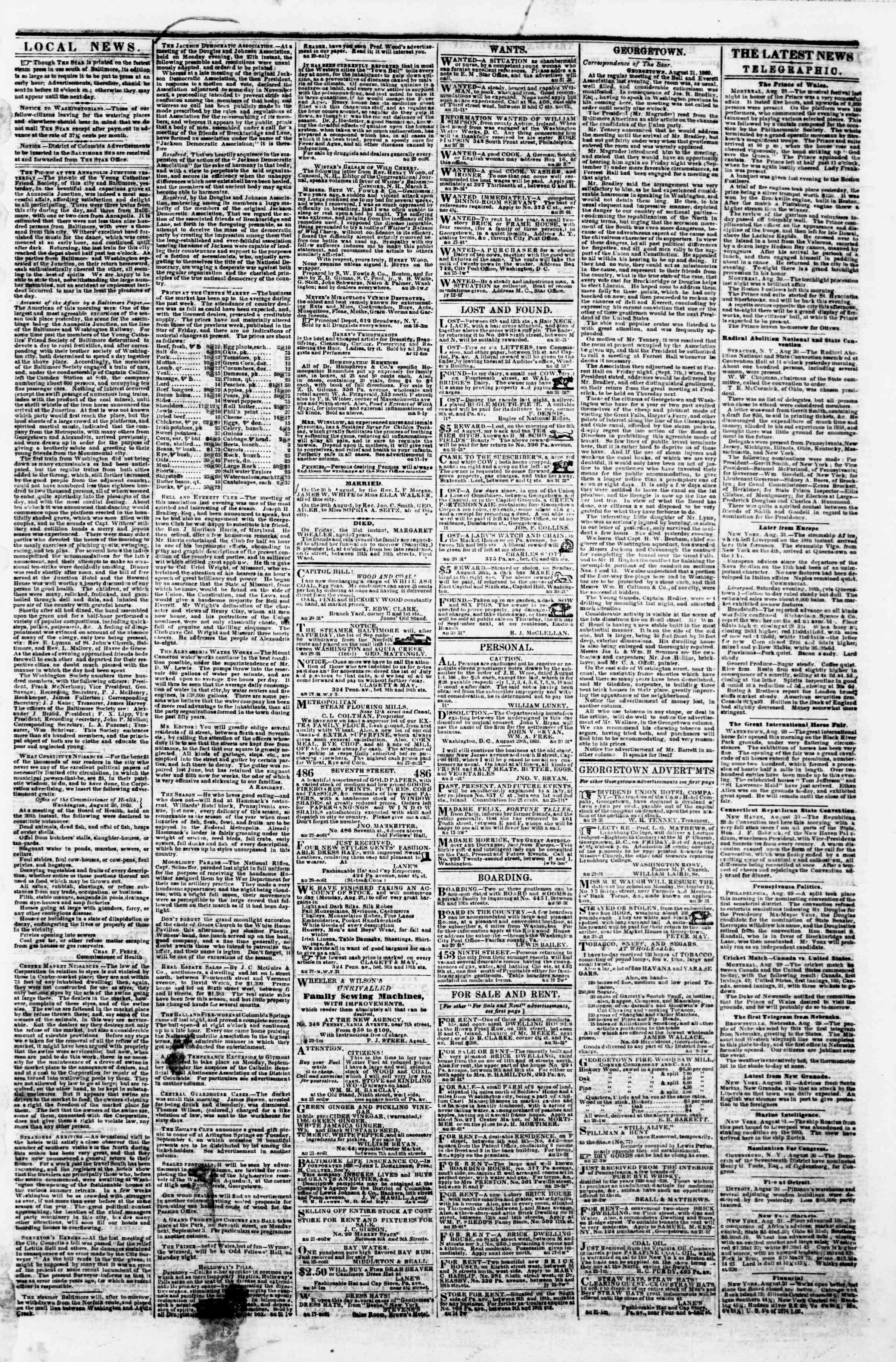 Newspaper of Evening Star dated August 31, 1860 Page 3