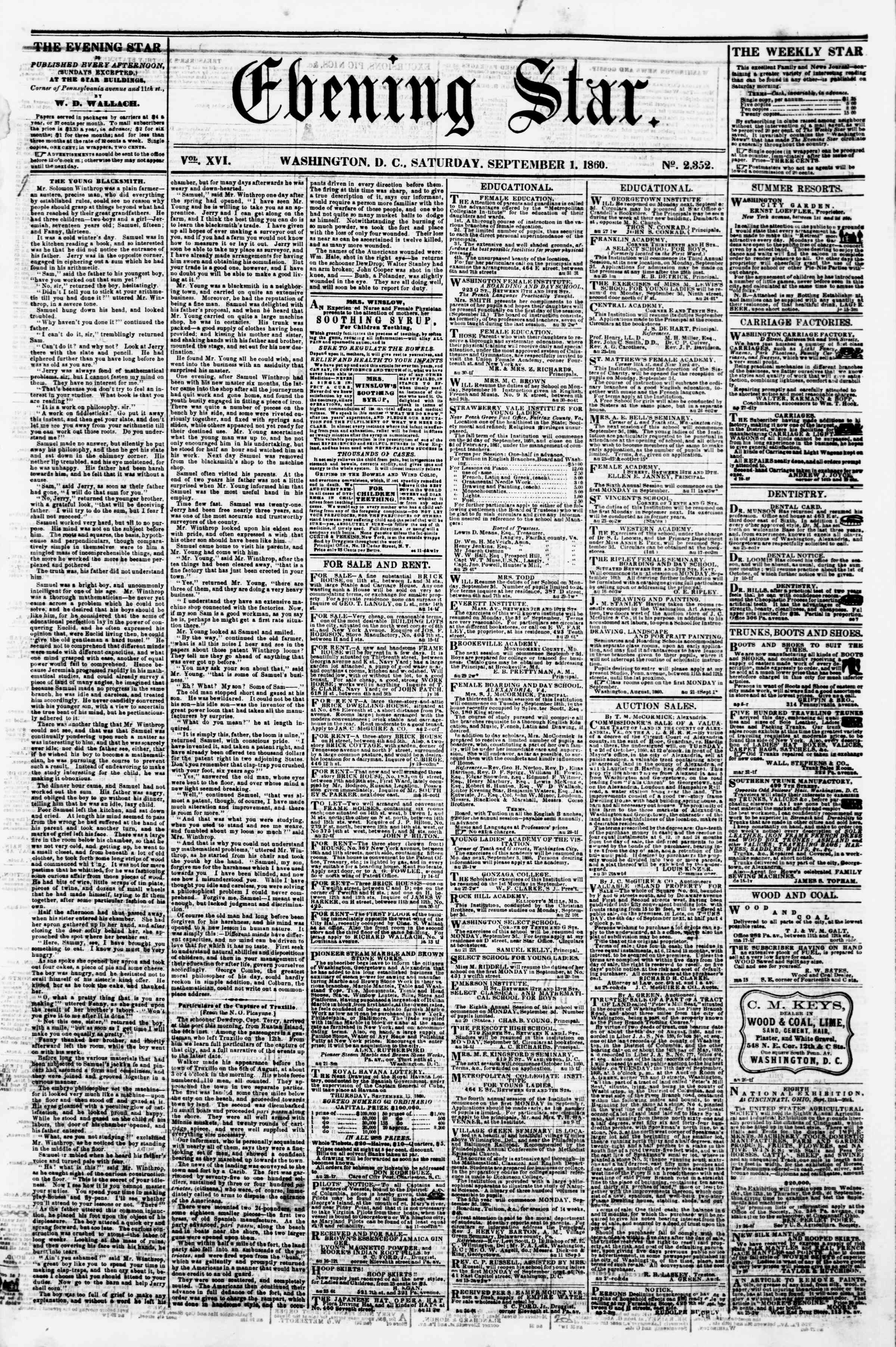 Newspaper of Evening Star dated September 1, 1860 Page 1