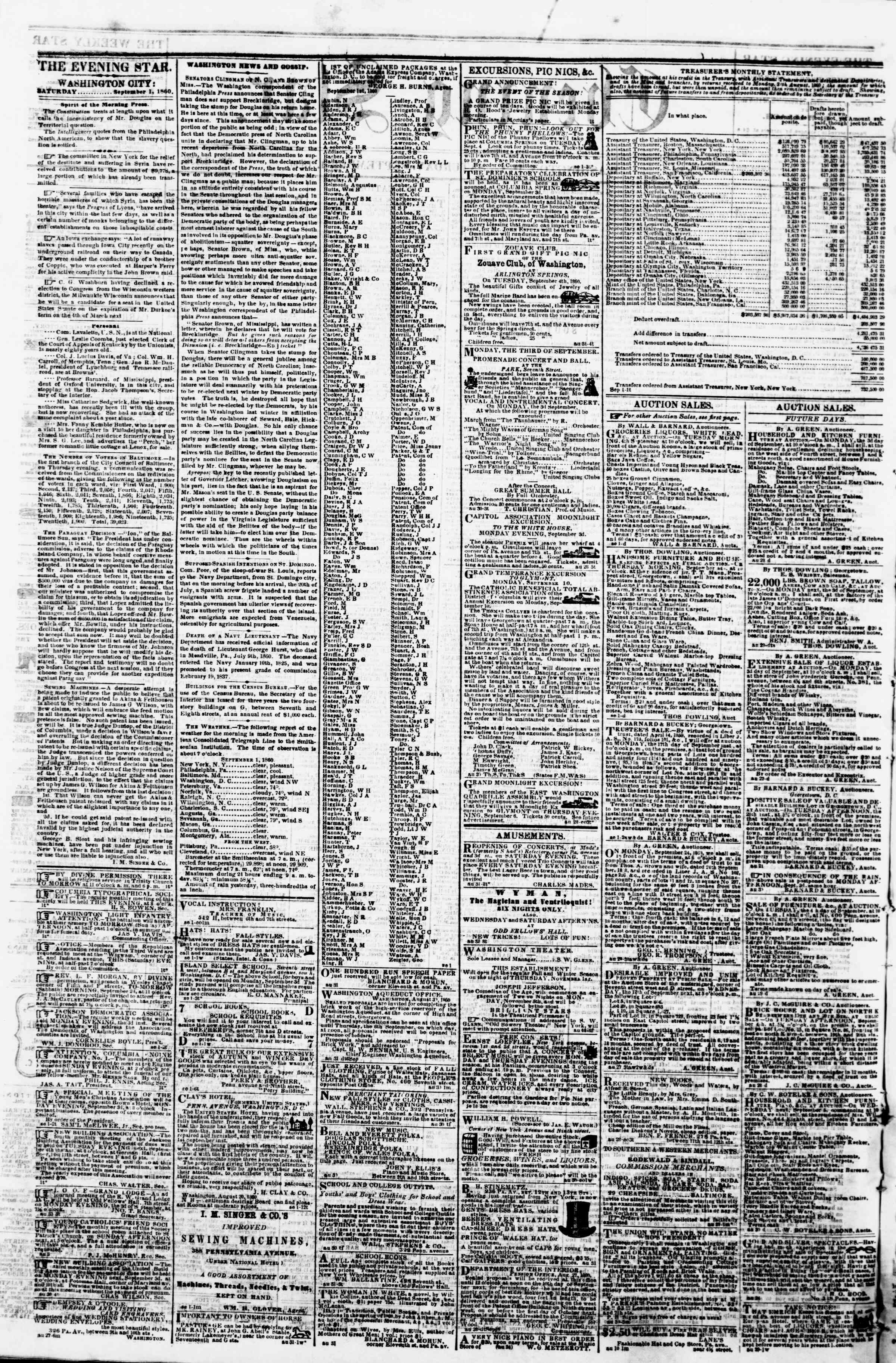 Newspaper of Evening Star dated September 1, 1860 Page 2