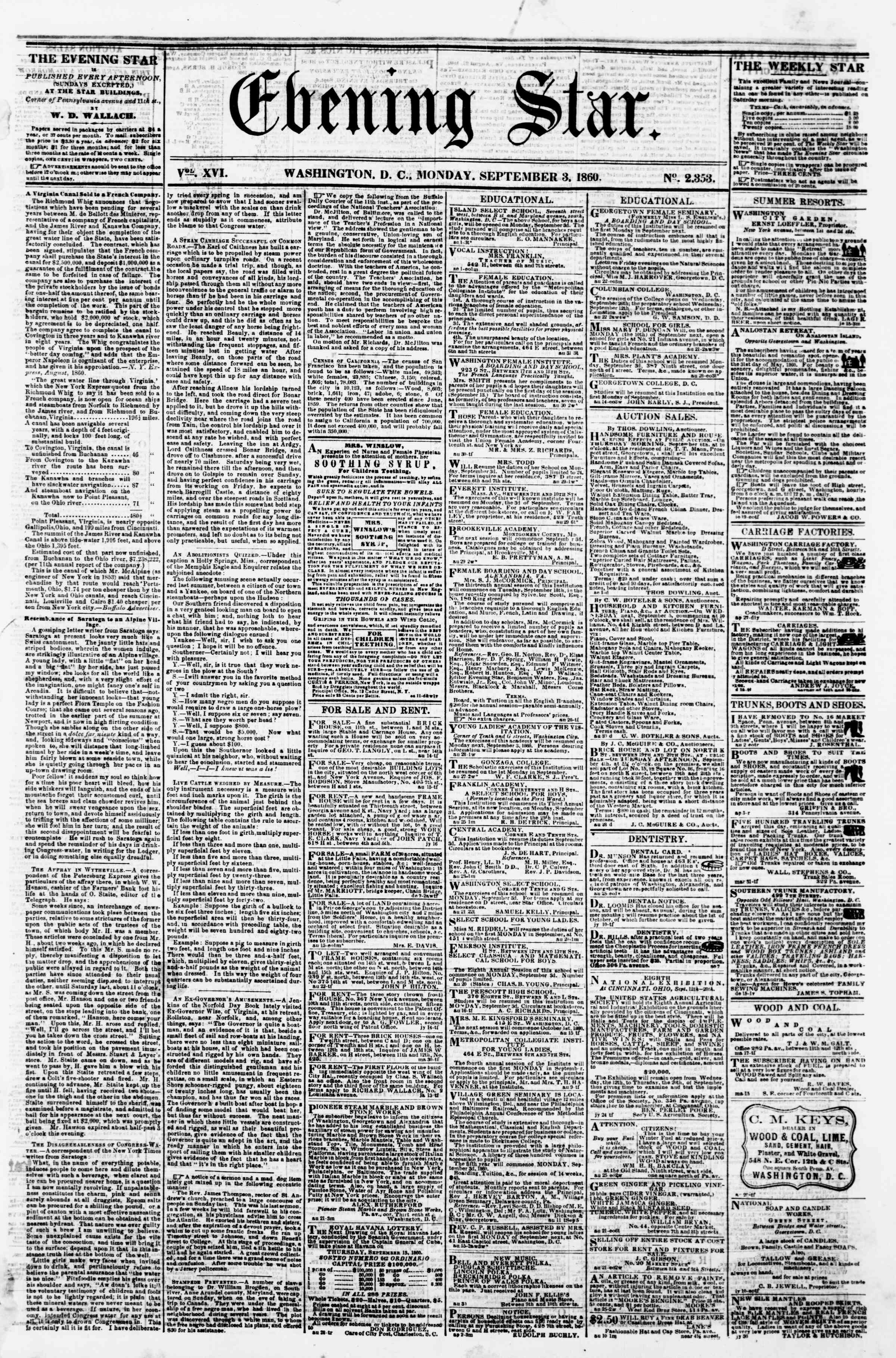 Newspaper of Evening Star dated September 3, 1860 Page 1