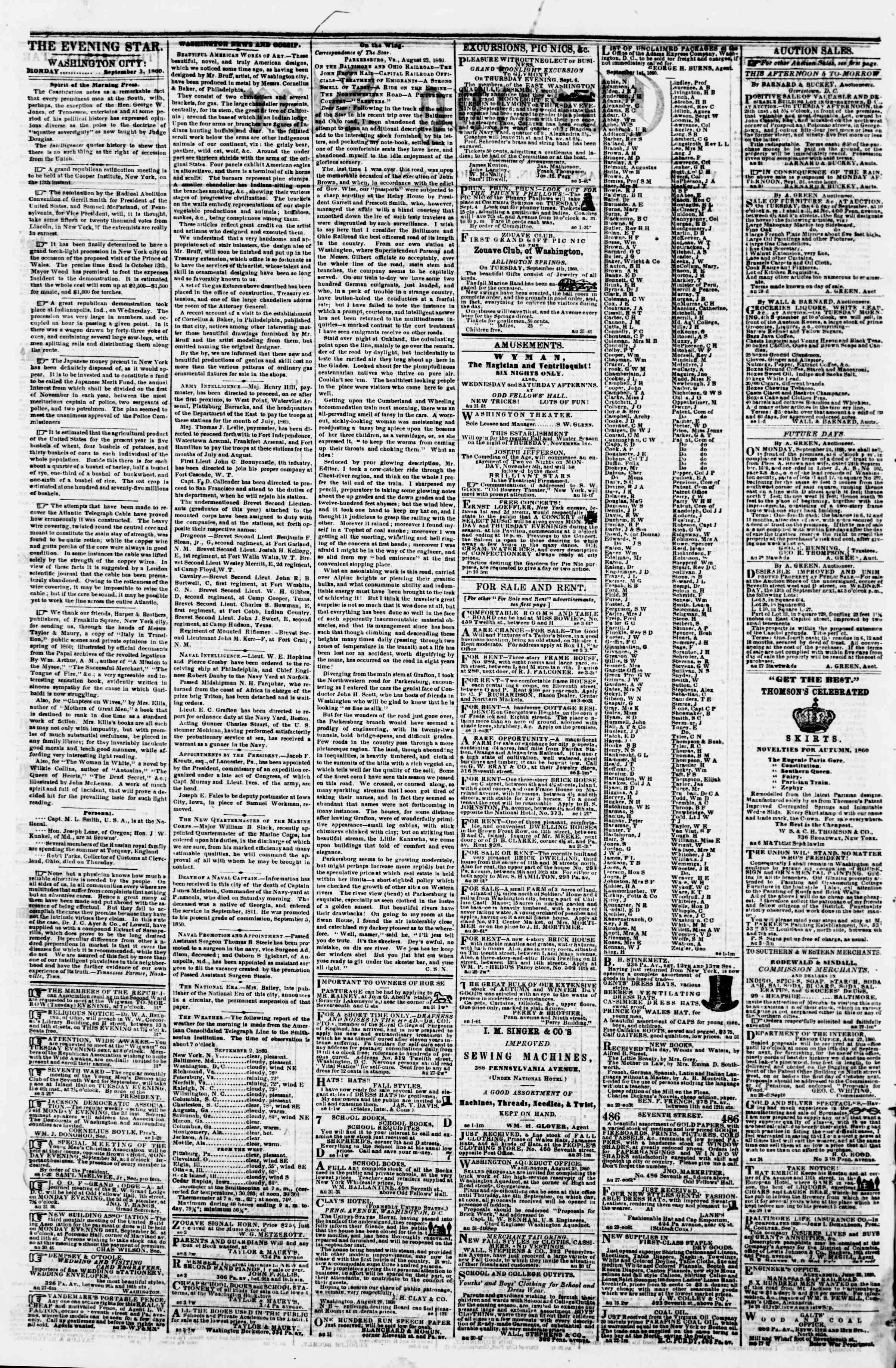 Newspaper of Evening Star dated September 3, 1860 Page 2