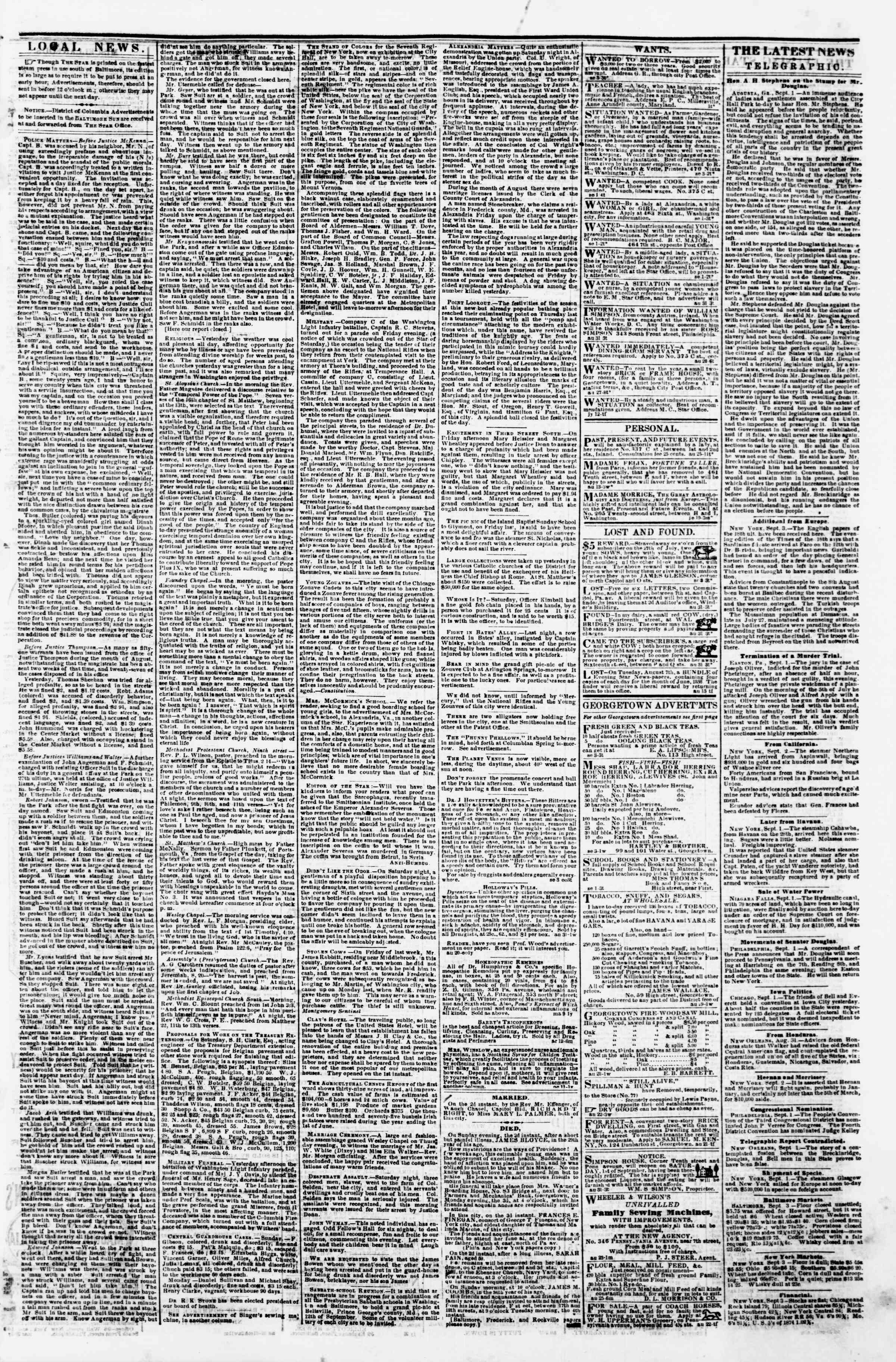 Newspaper of Evening Star dated 3 Eylül 1860 Page 3