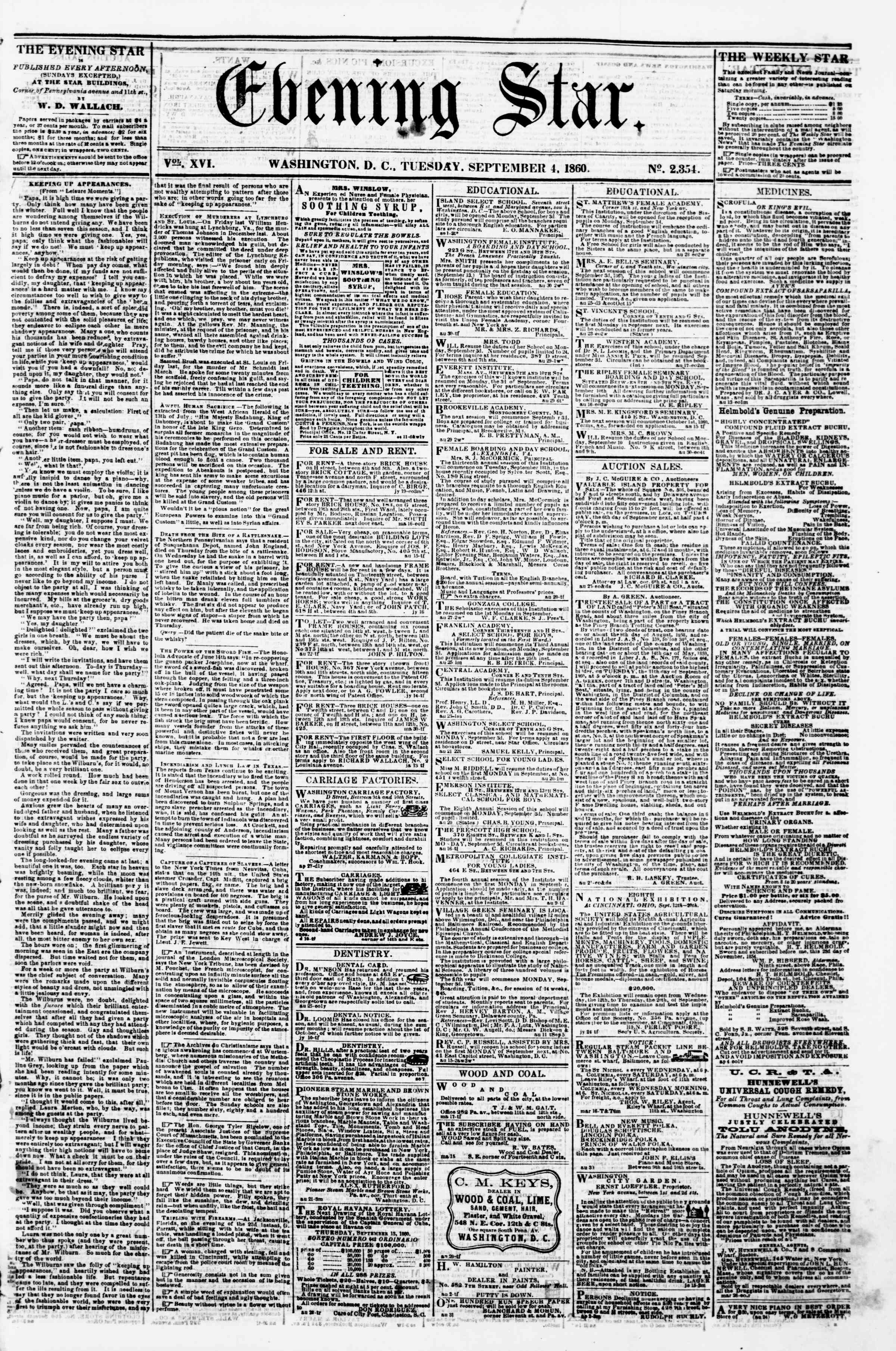 Newspaper of Evening Star dated September 4, 1860 Page 1