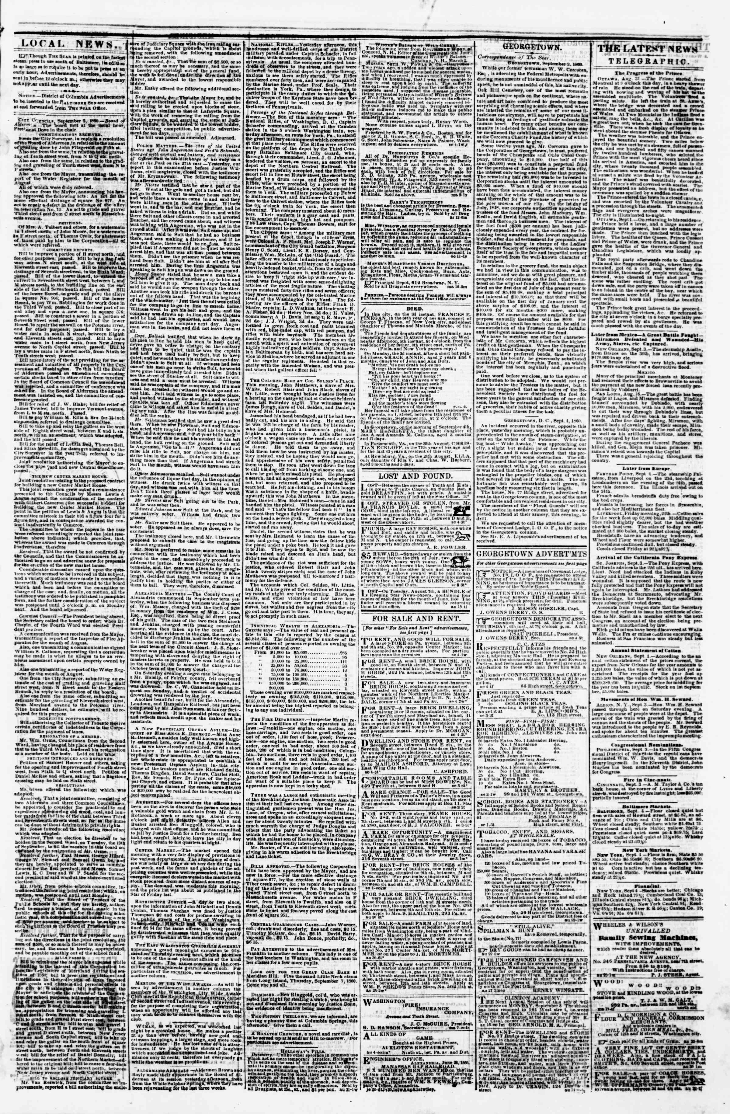 Newspaper of Evening Star dated September 4, 1860 Page 3