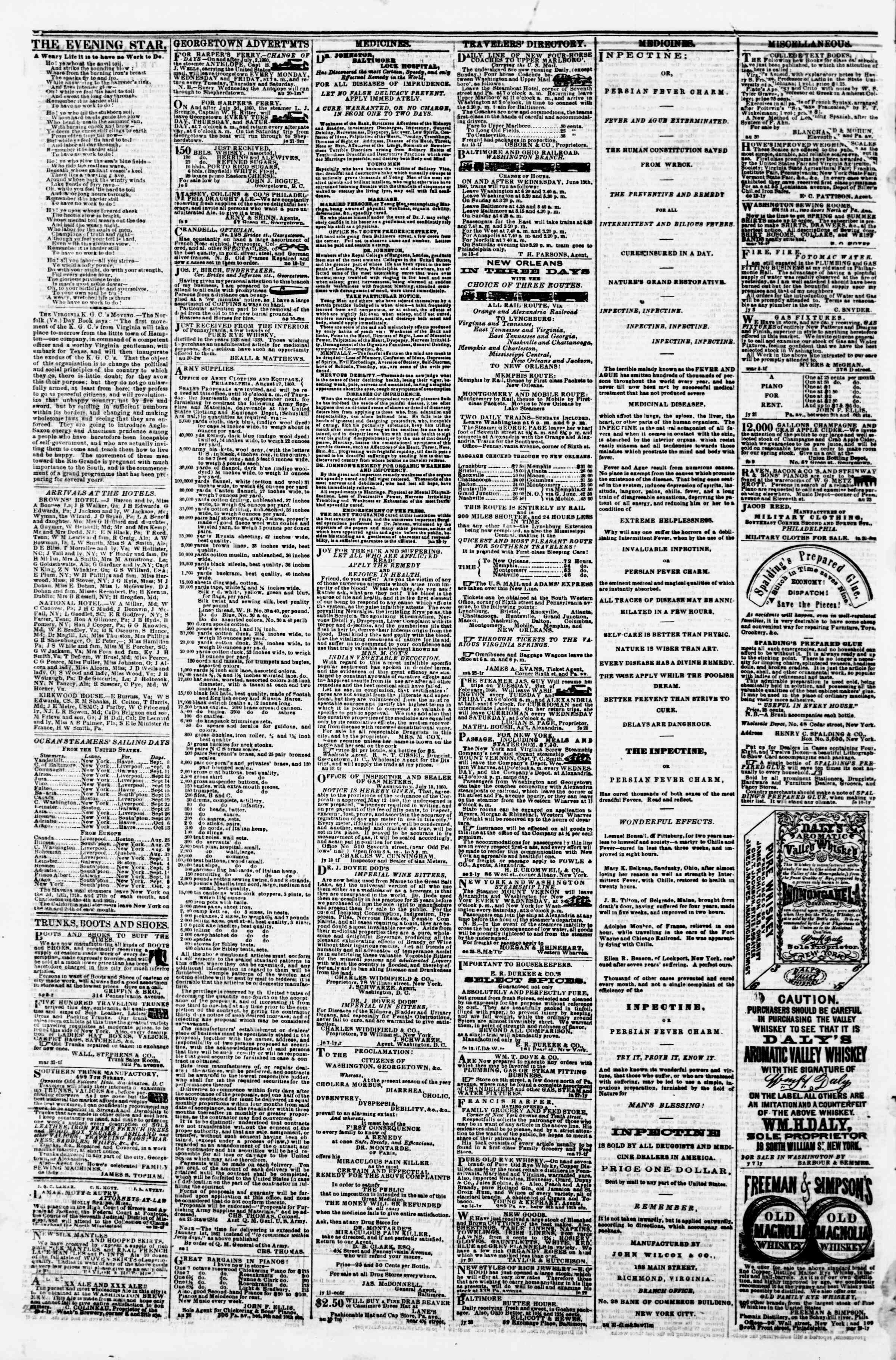 Newspaper of Evening Star dated September 4, 1860 Page 4