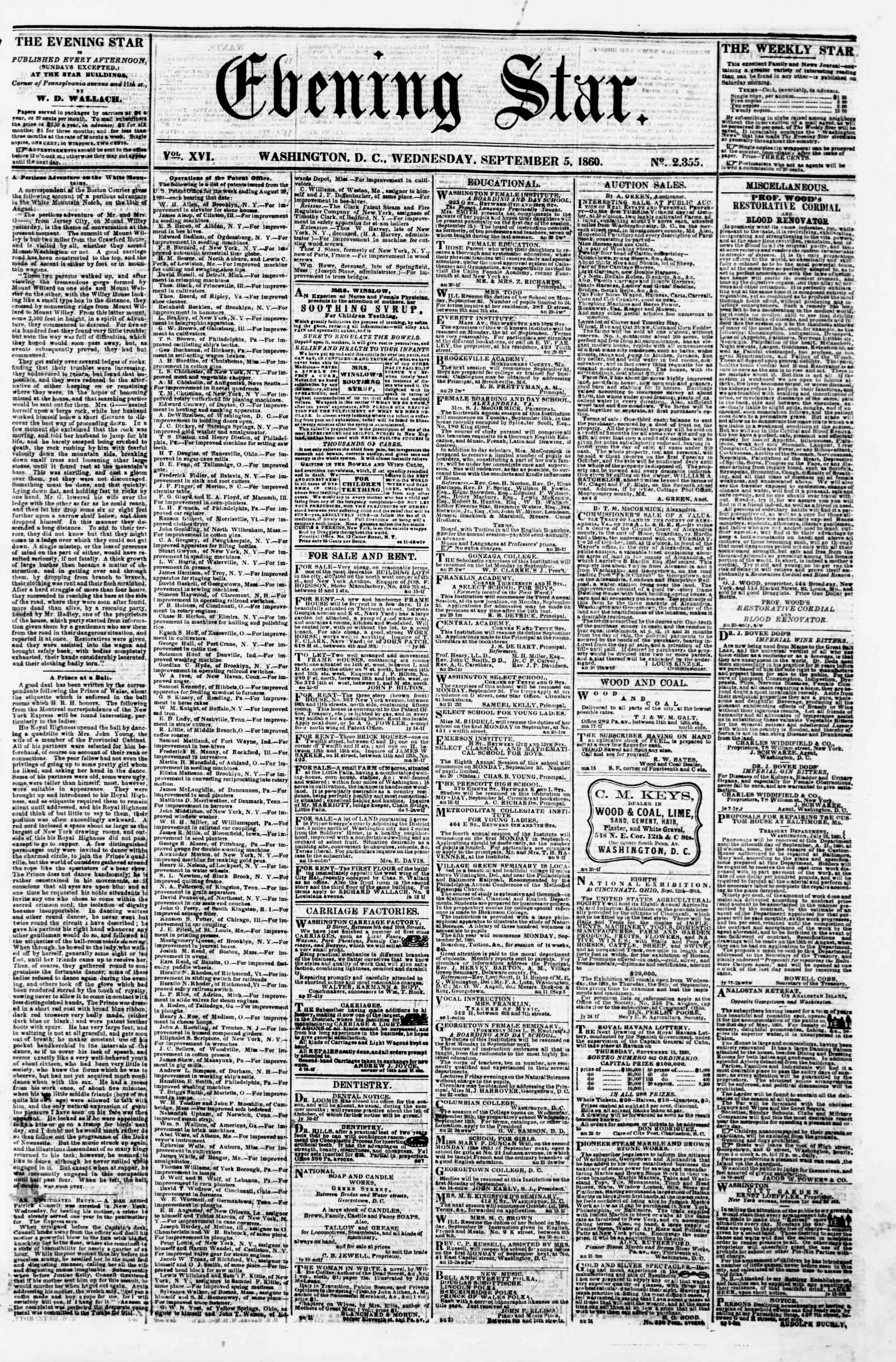 Newspaper of Evening Star dated September 5, 1860 Page 1