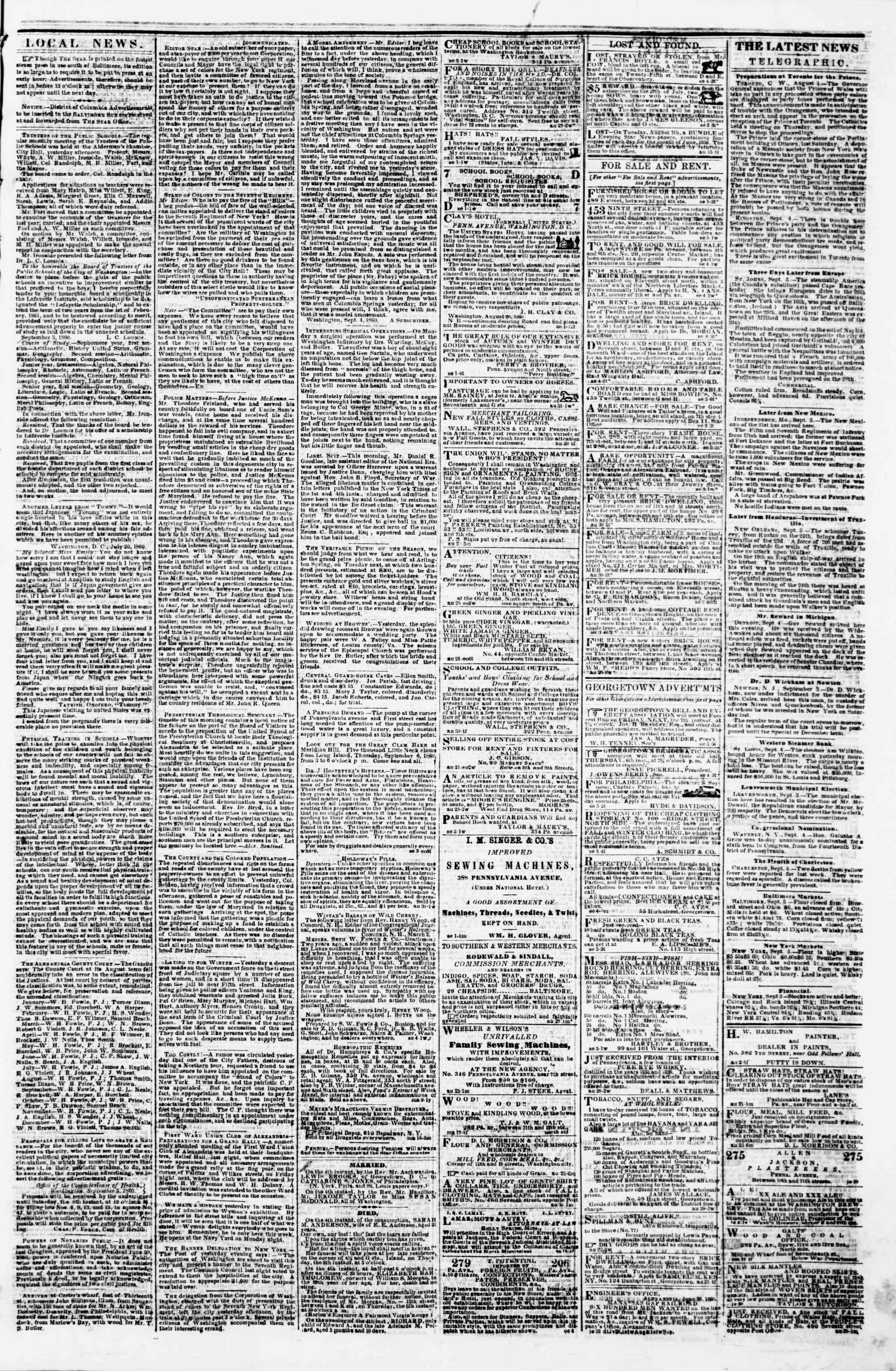 Newspaper of Evening Star dated September 5, 1860 Page 3