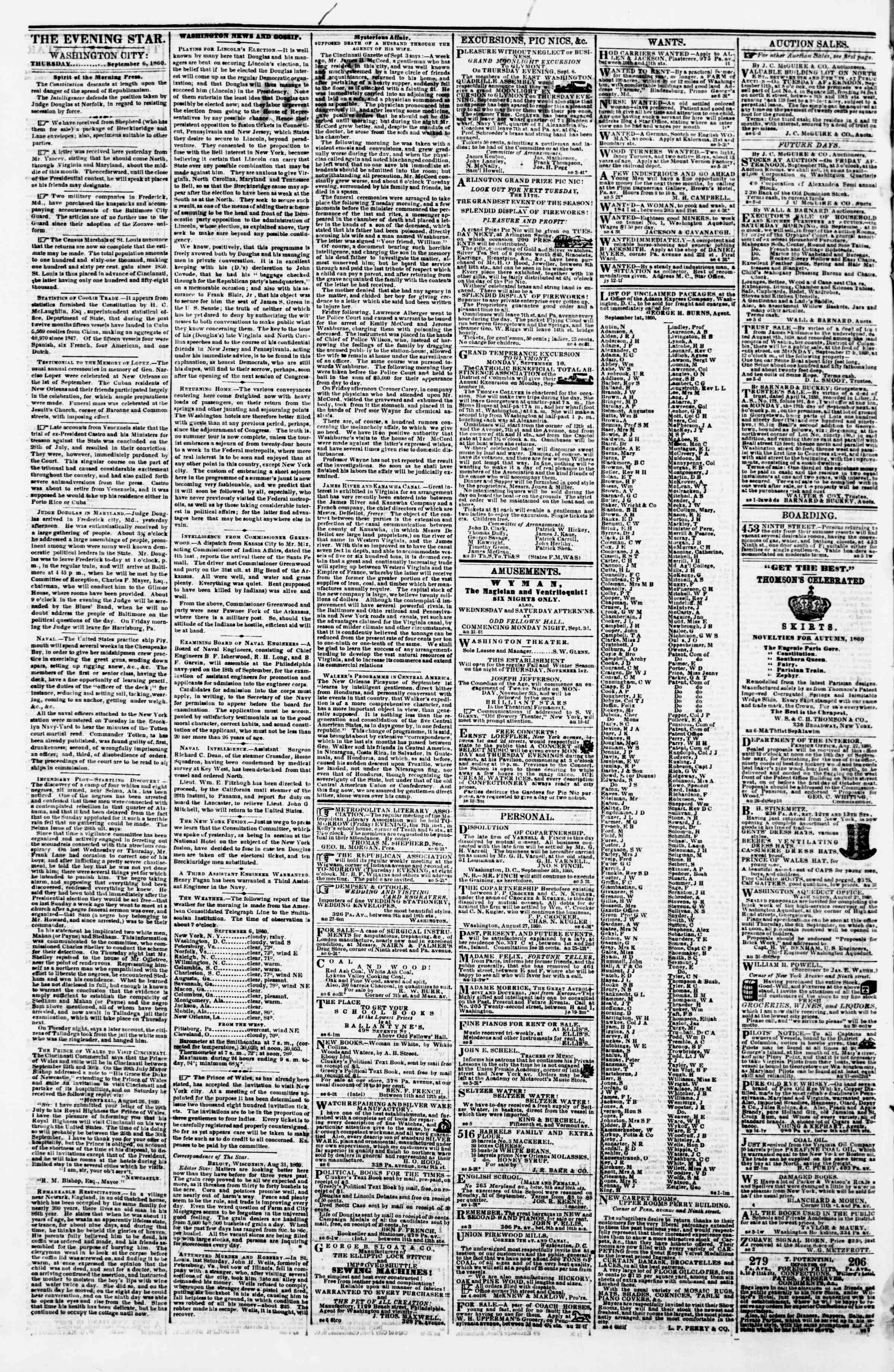 Newspaper of Evening Star dated September 6, 1860 Page 2