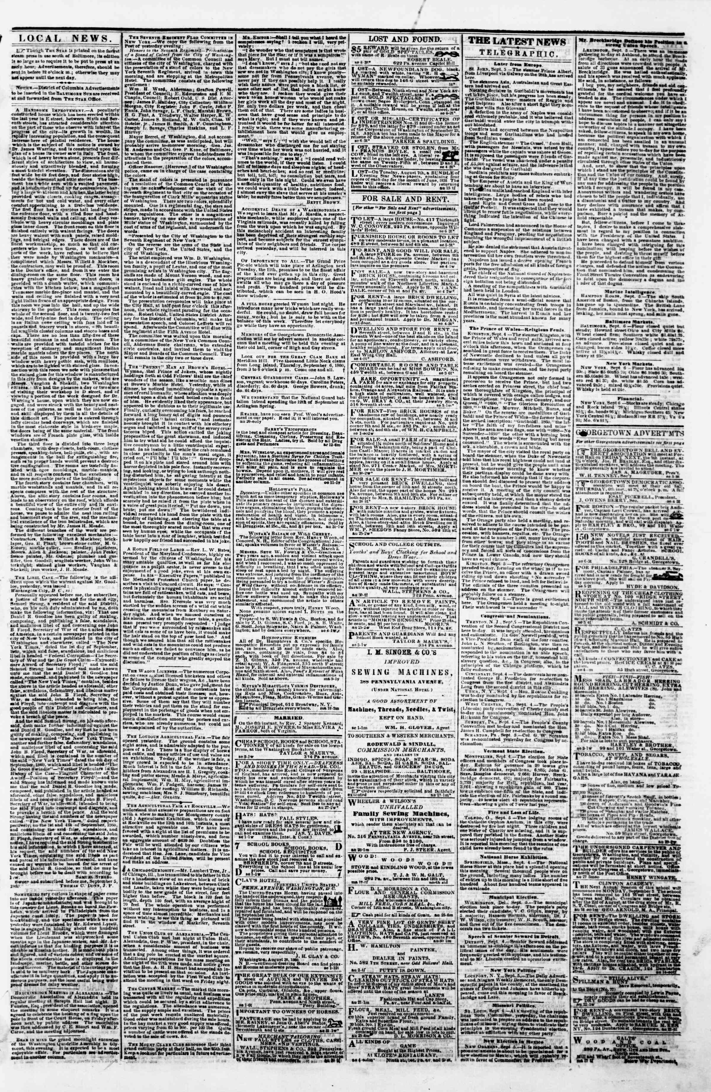 Newspaper of Evening Star dated September 6, 1860 Page 3