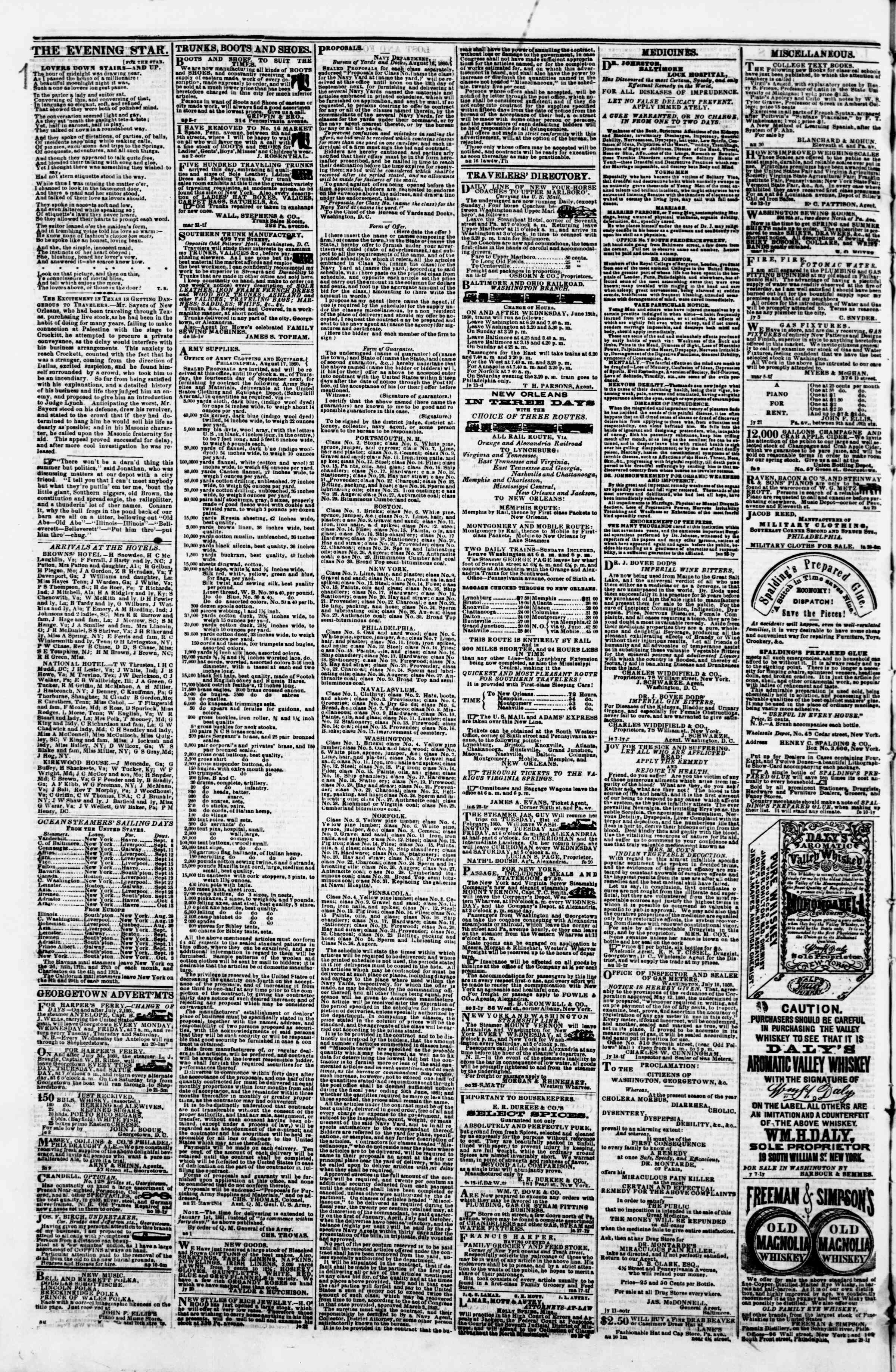 Newspaper of Evening Star dated September 6, 1860 Page 4
