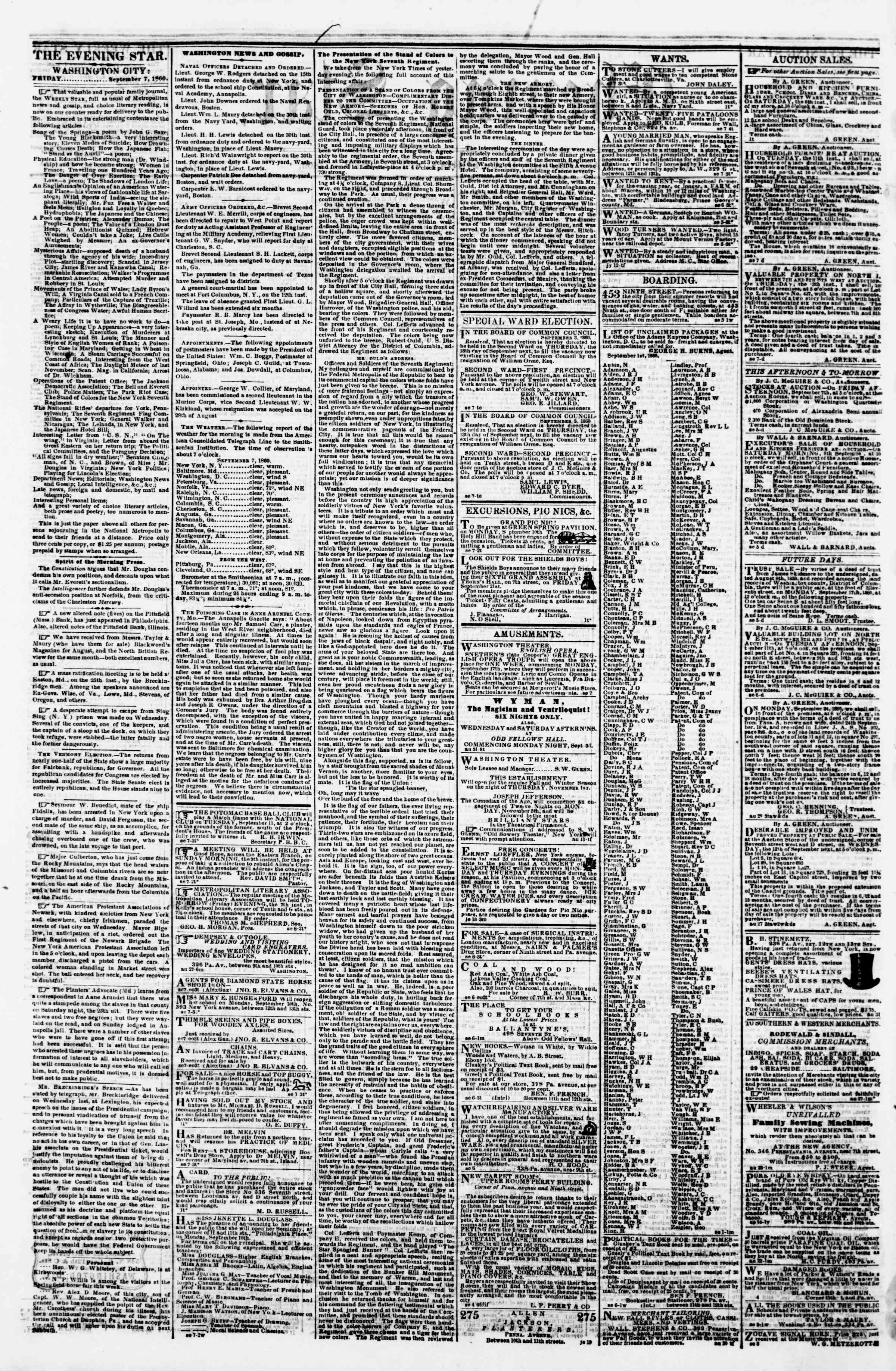 Newspaper of Evening Star dated September 7, 1860 Page 2