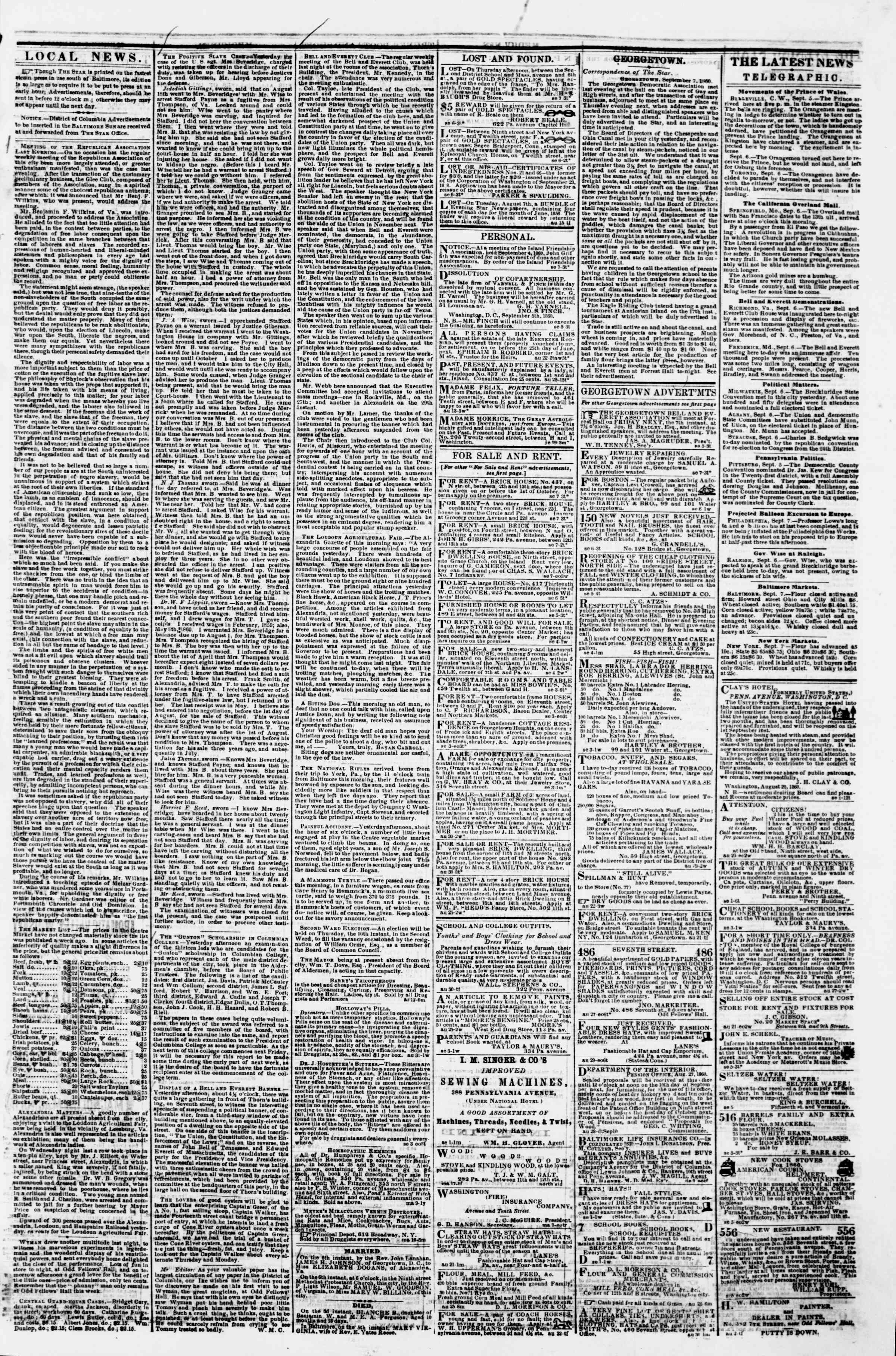 Newspaper of Evening Star dated September 7, 1860 Page 3
