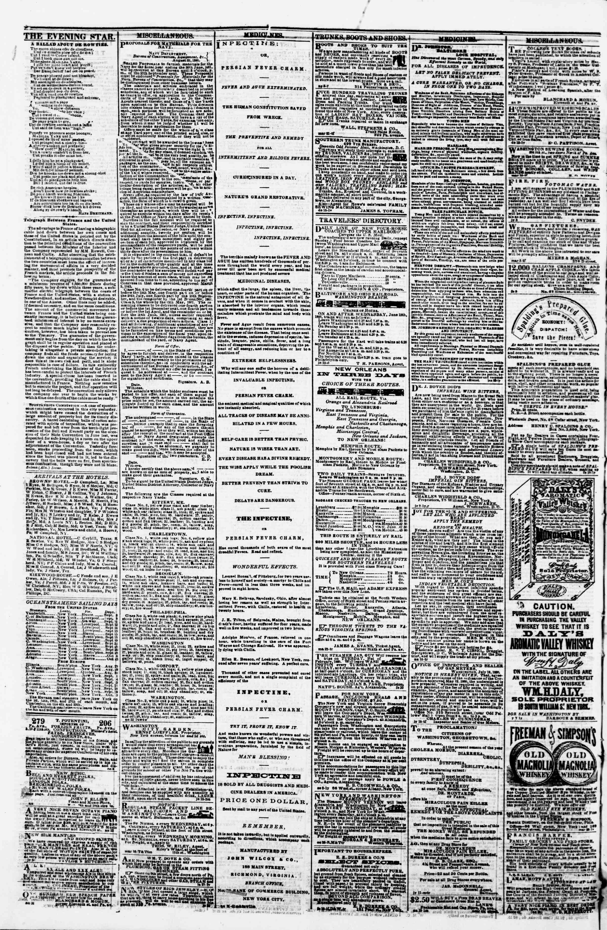 Newspaper of Evening Star dated September 7, 1860 Page 4