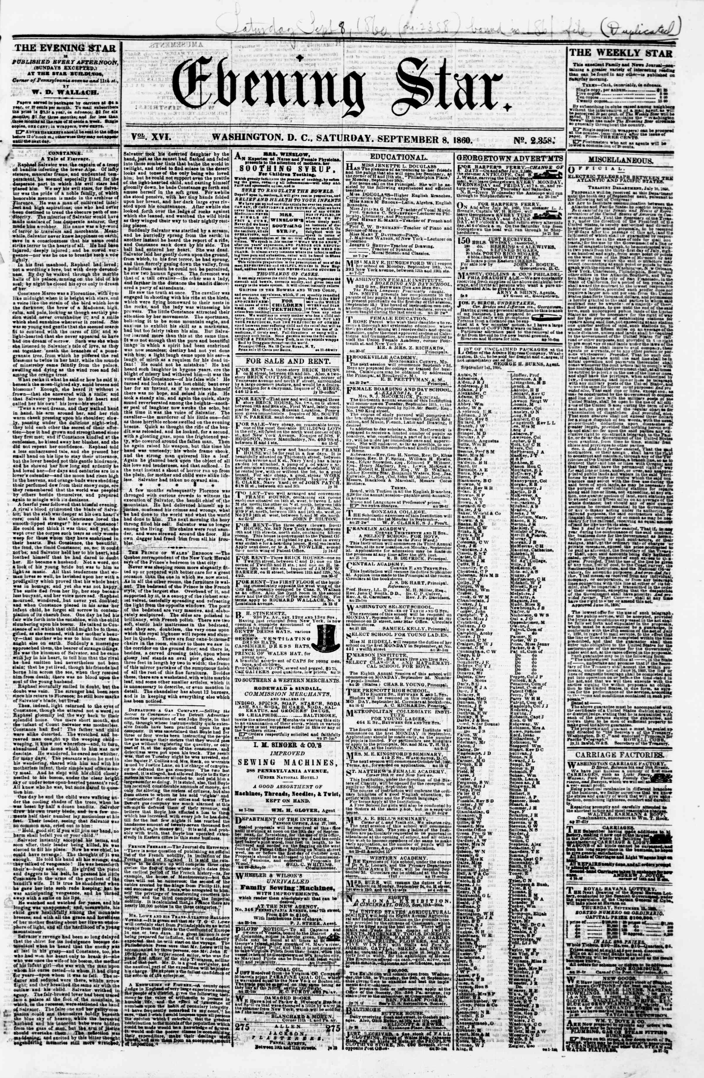Newspaper of Evening Star dated September 8, 1860 Page 1