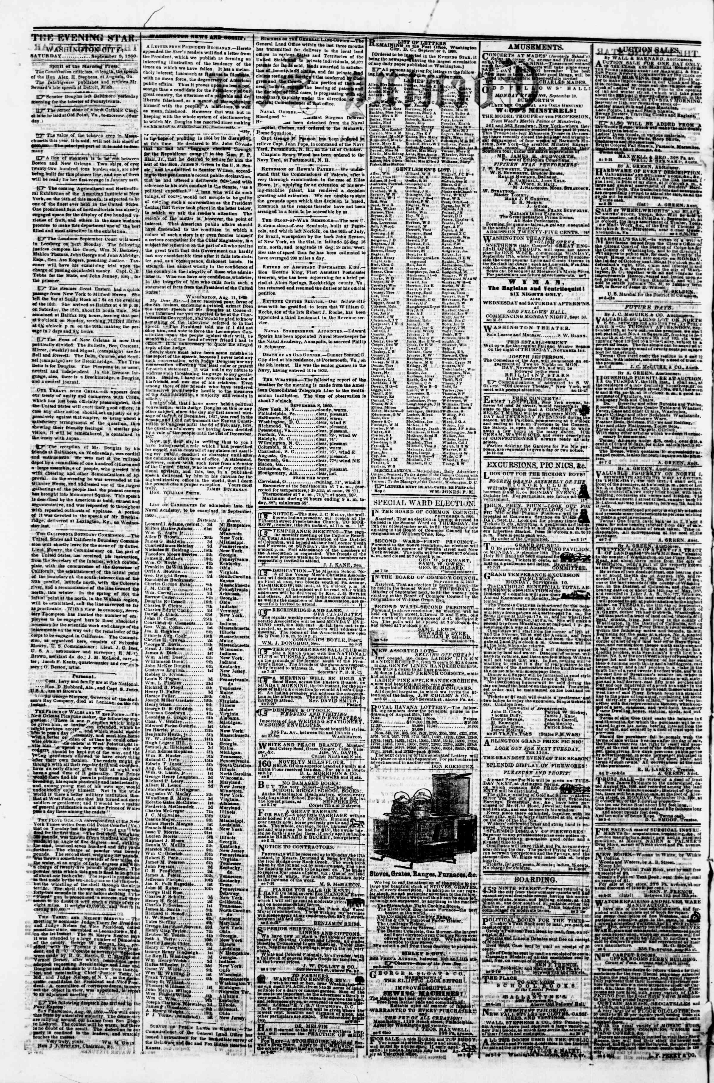 Newspaper of Evening Star dated September 8, 1860 Page 2