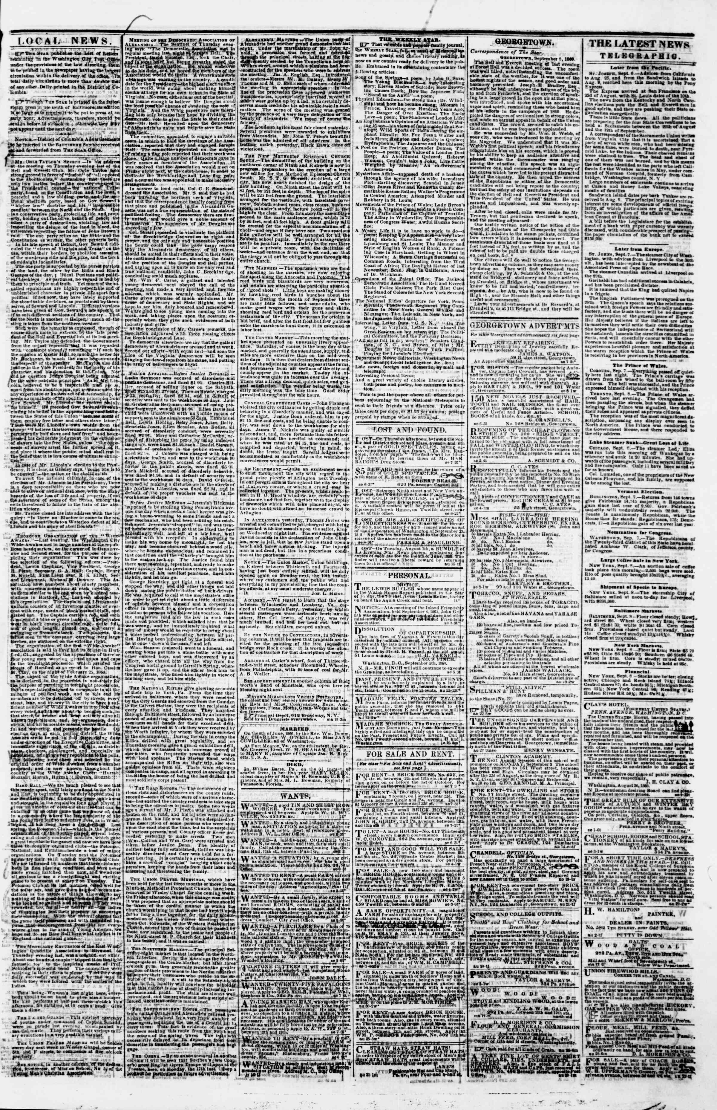 Newspaper of Evening Star dated September 8, 1860 Page 3