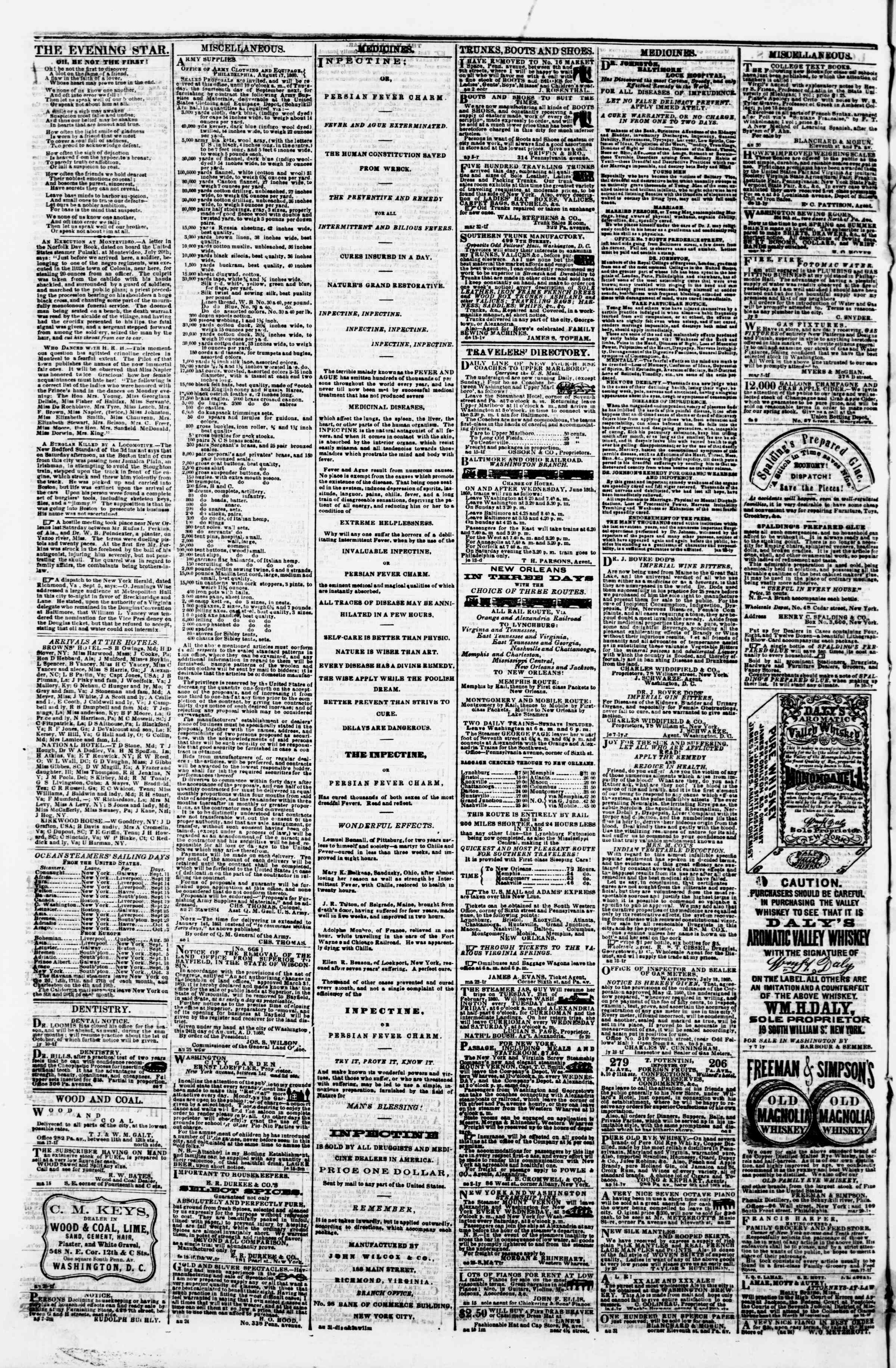 Newspaper of Evening Star dated September 8, 1860 Page 4