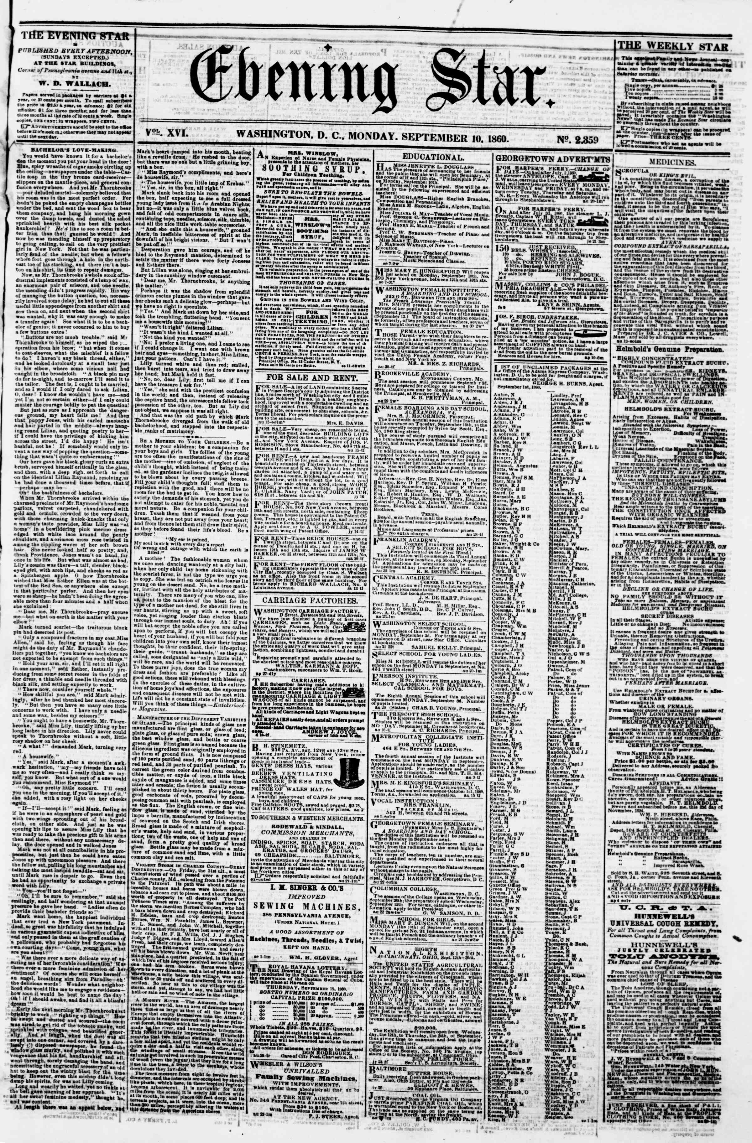 Newspaper of Evening Star dated 10 Eylül 1860 Page 1
