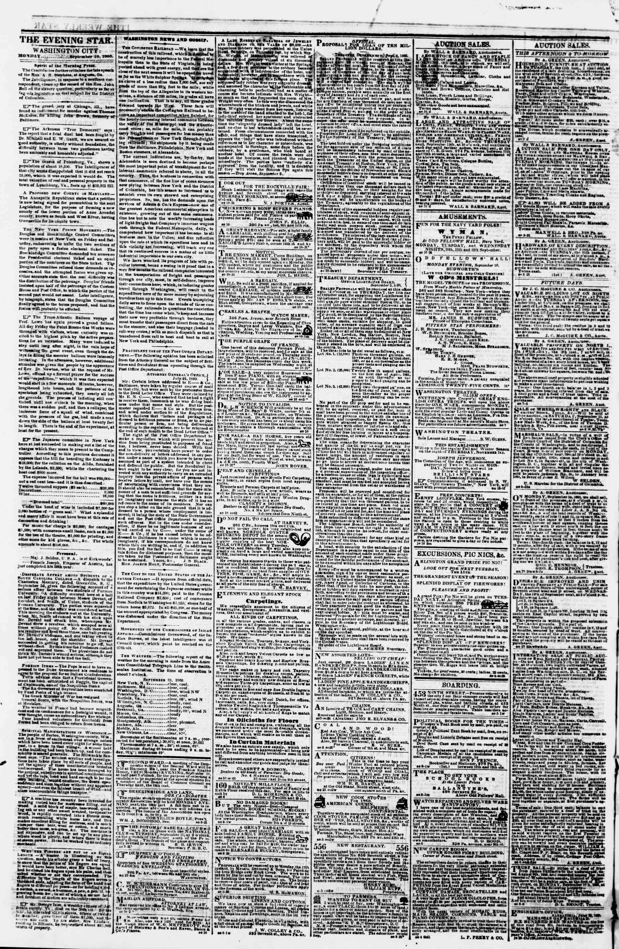 Newspaper of Evening Star dated September 10, 1860 Page 2