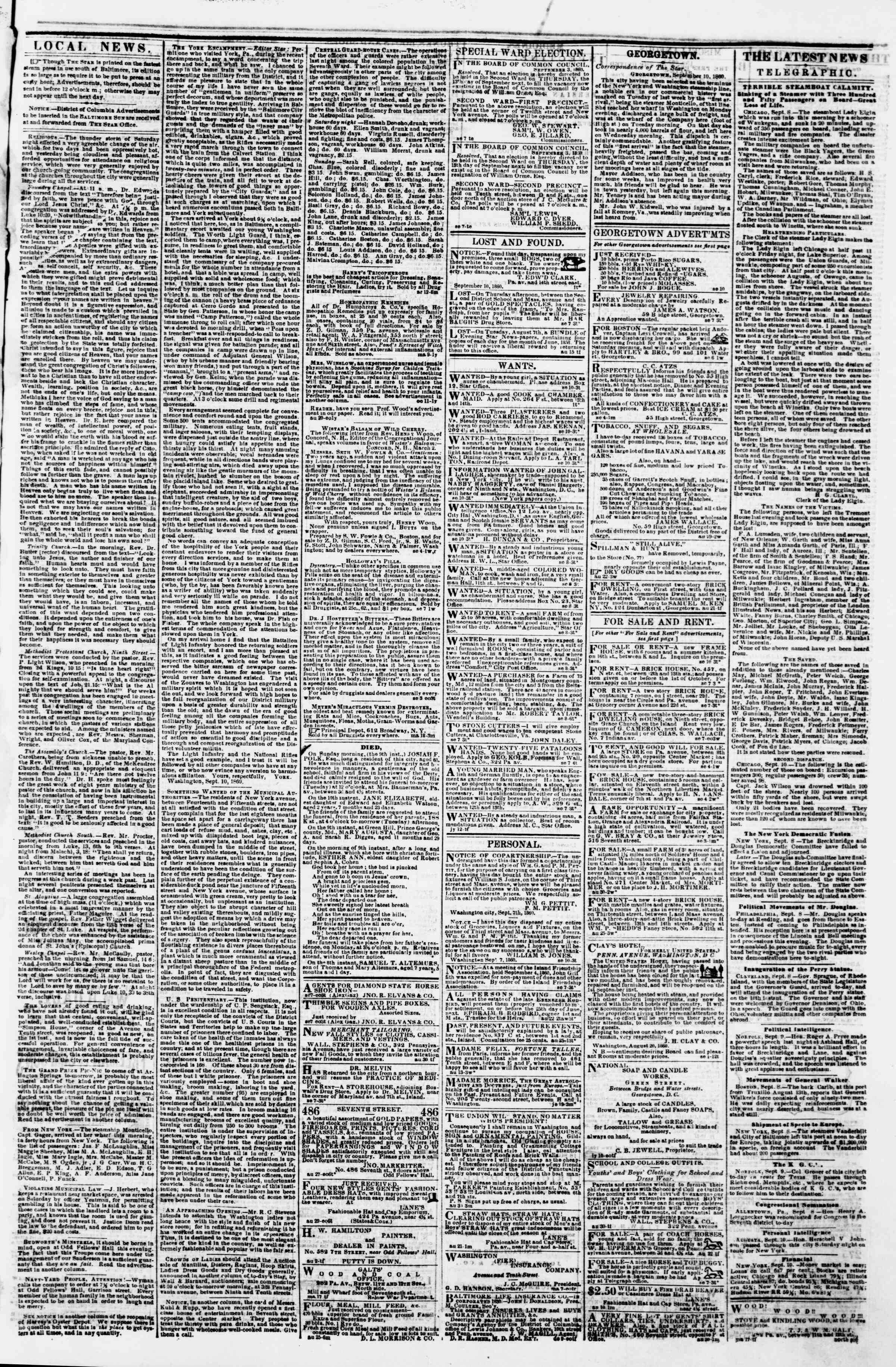 Newspaper of Evening Star dated September 10, 1860 Page 3