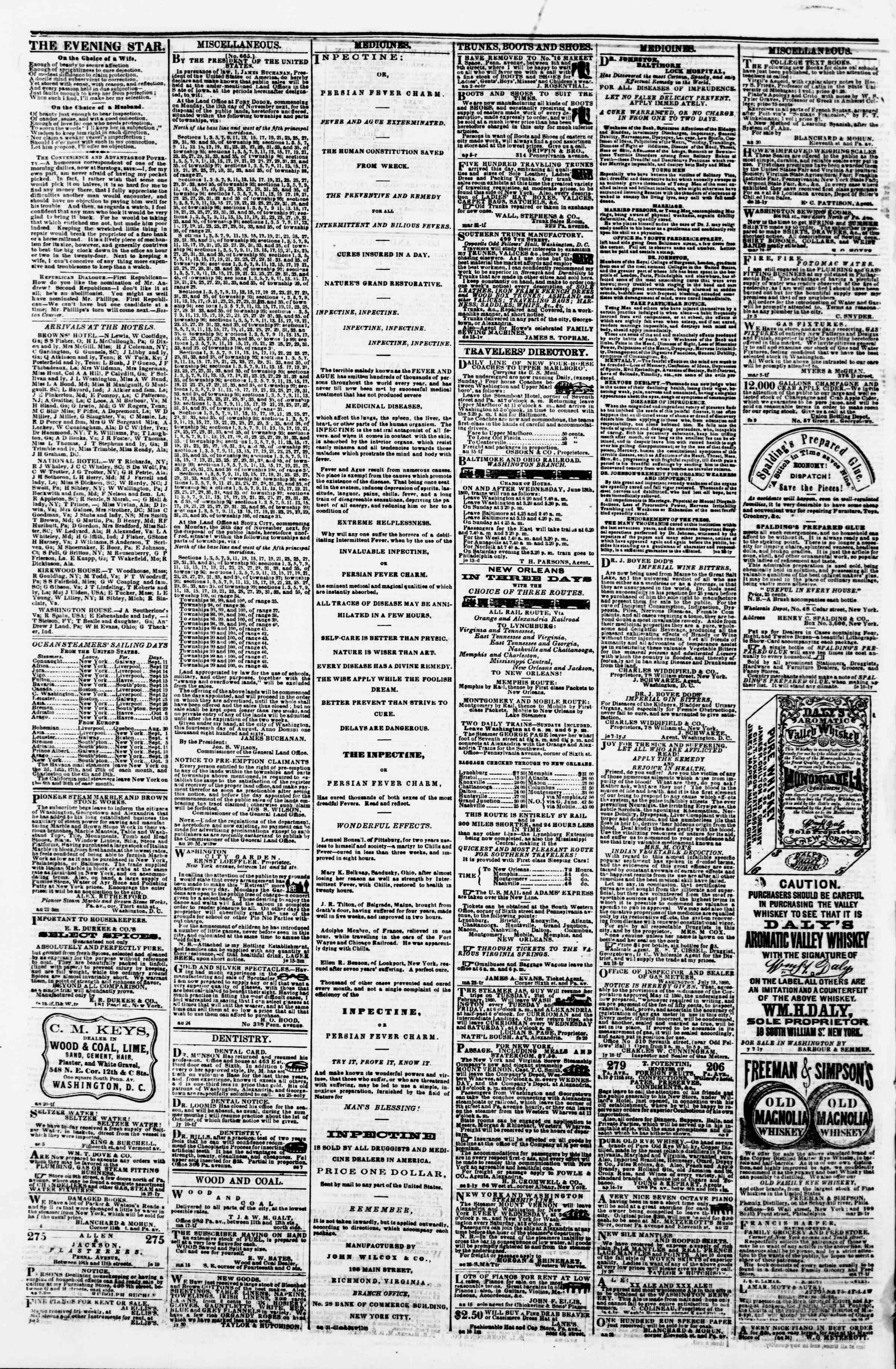 Newspaper of Evening Star dated September 10, 1860 Page 4