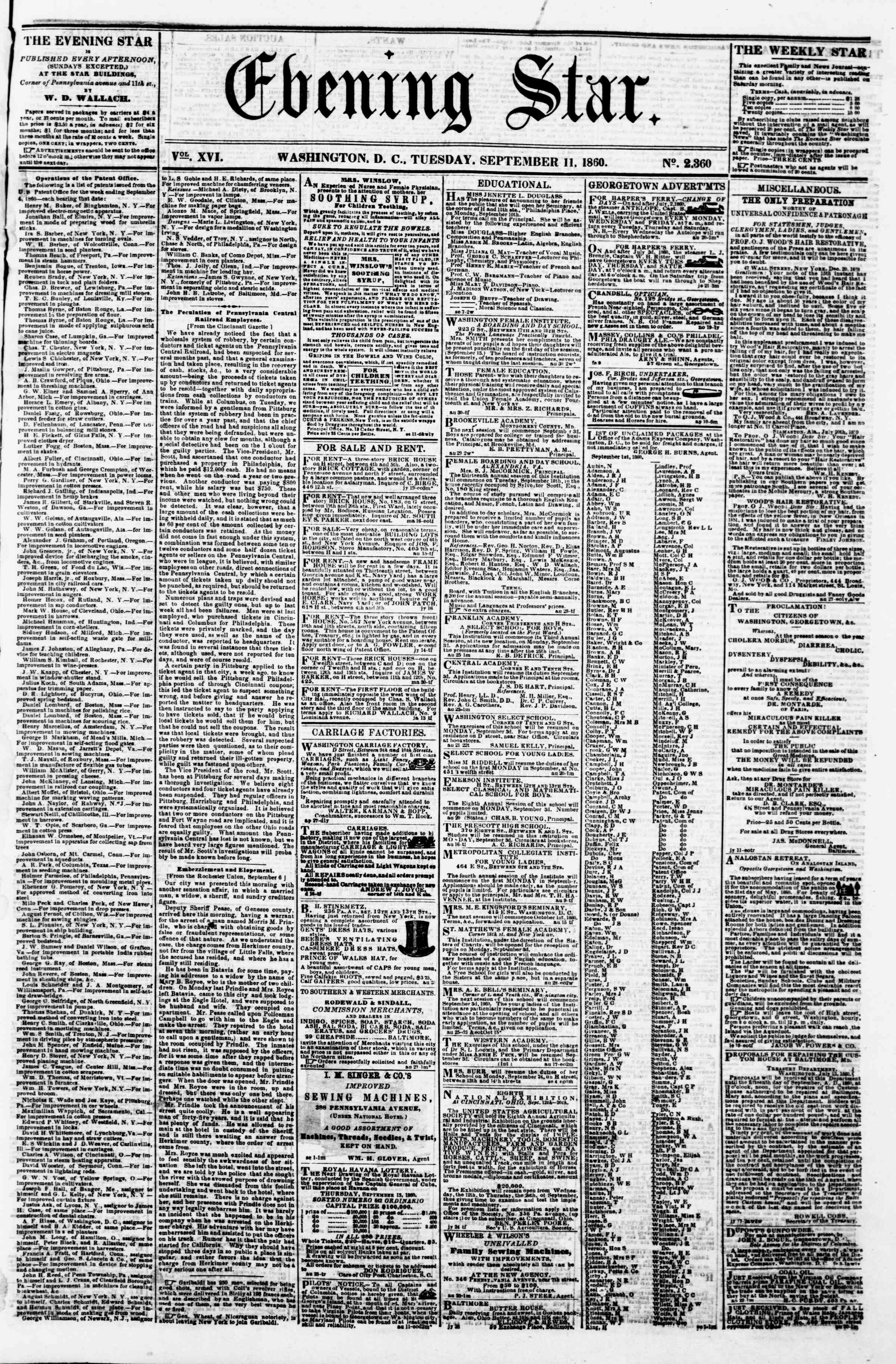 Newspaper of Evening Star dated September 11, 1860 Page 1