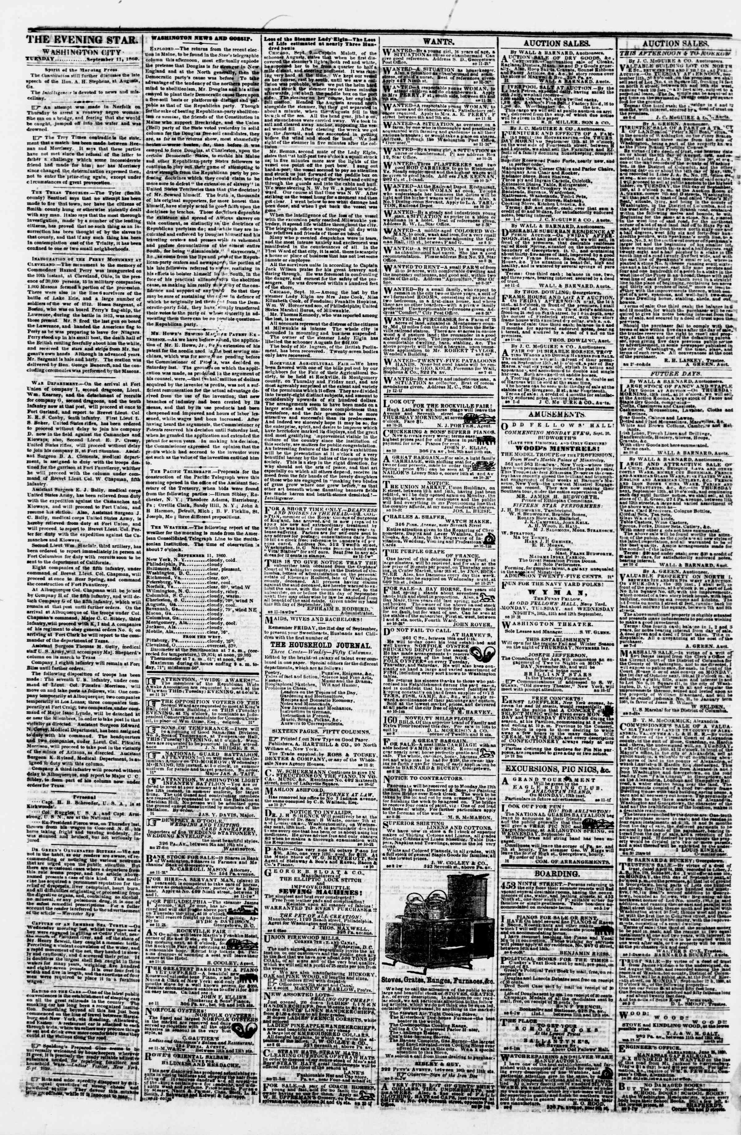Newspaper of Evening Star dated September 11, 1860 Page 2