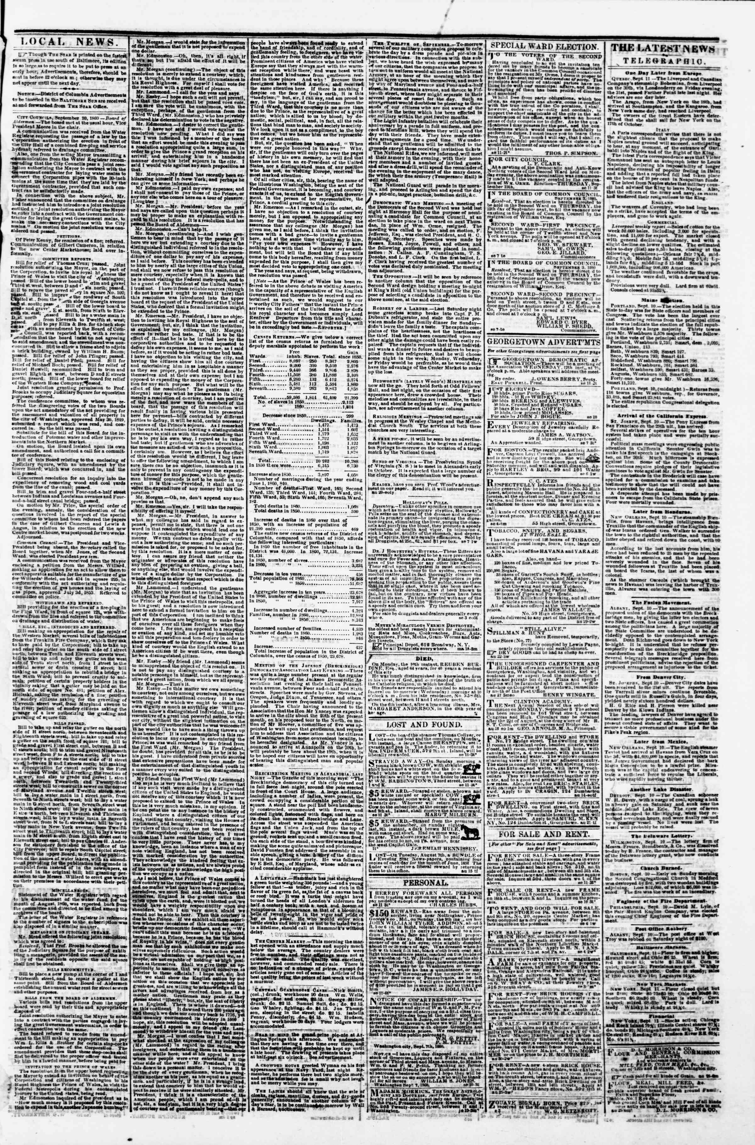 Newspaper of Evening Star dated September 11, 1860 Page 3