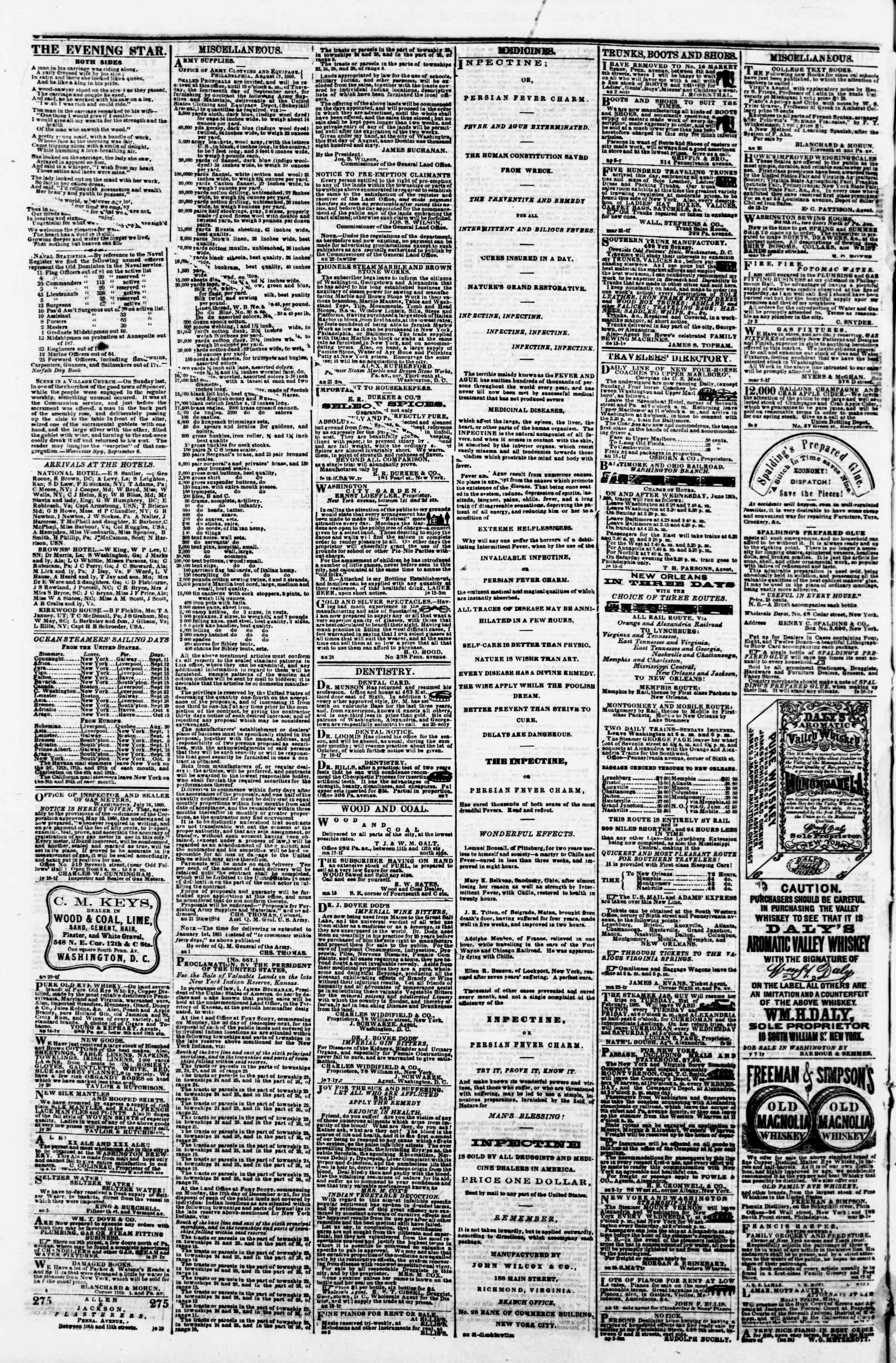 Newspaper of Evening Star dated September 11, 1860 Page 4