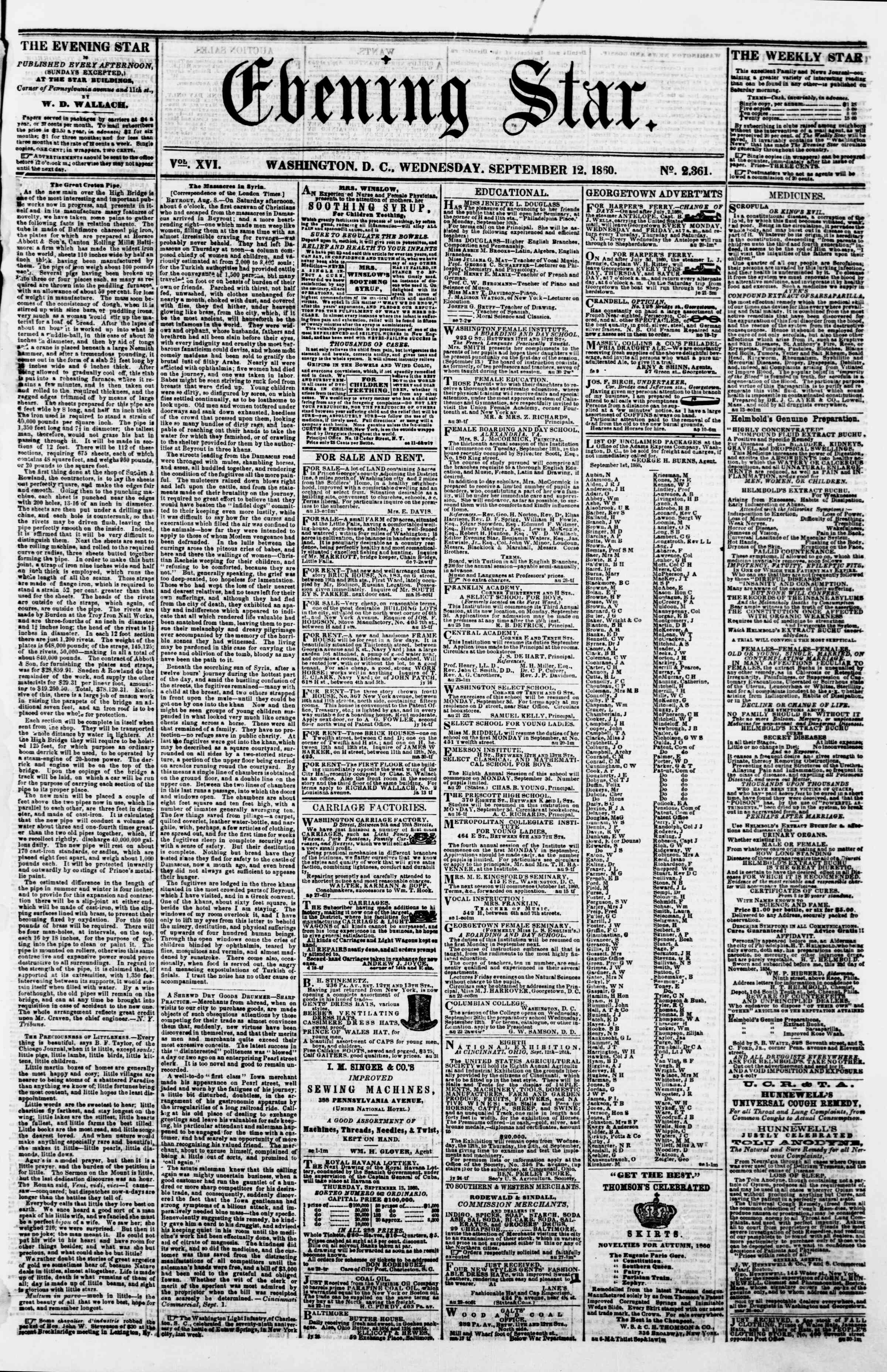 Newspaper of Evening Star dated September 12, 1860 Page 1