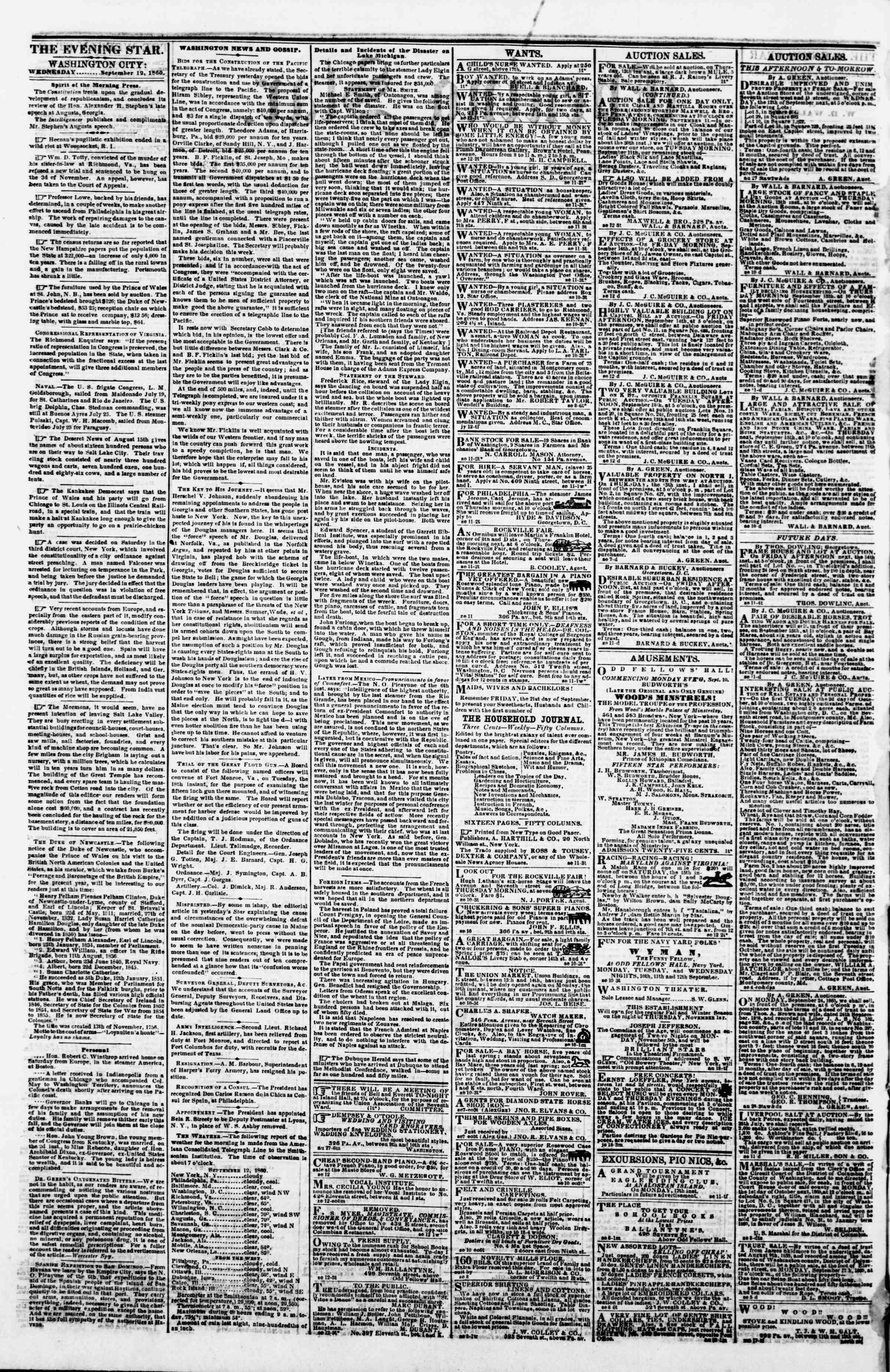 Newspaper of Evening Star dated September 12, 1860 Page 2