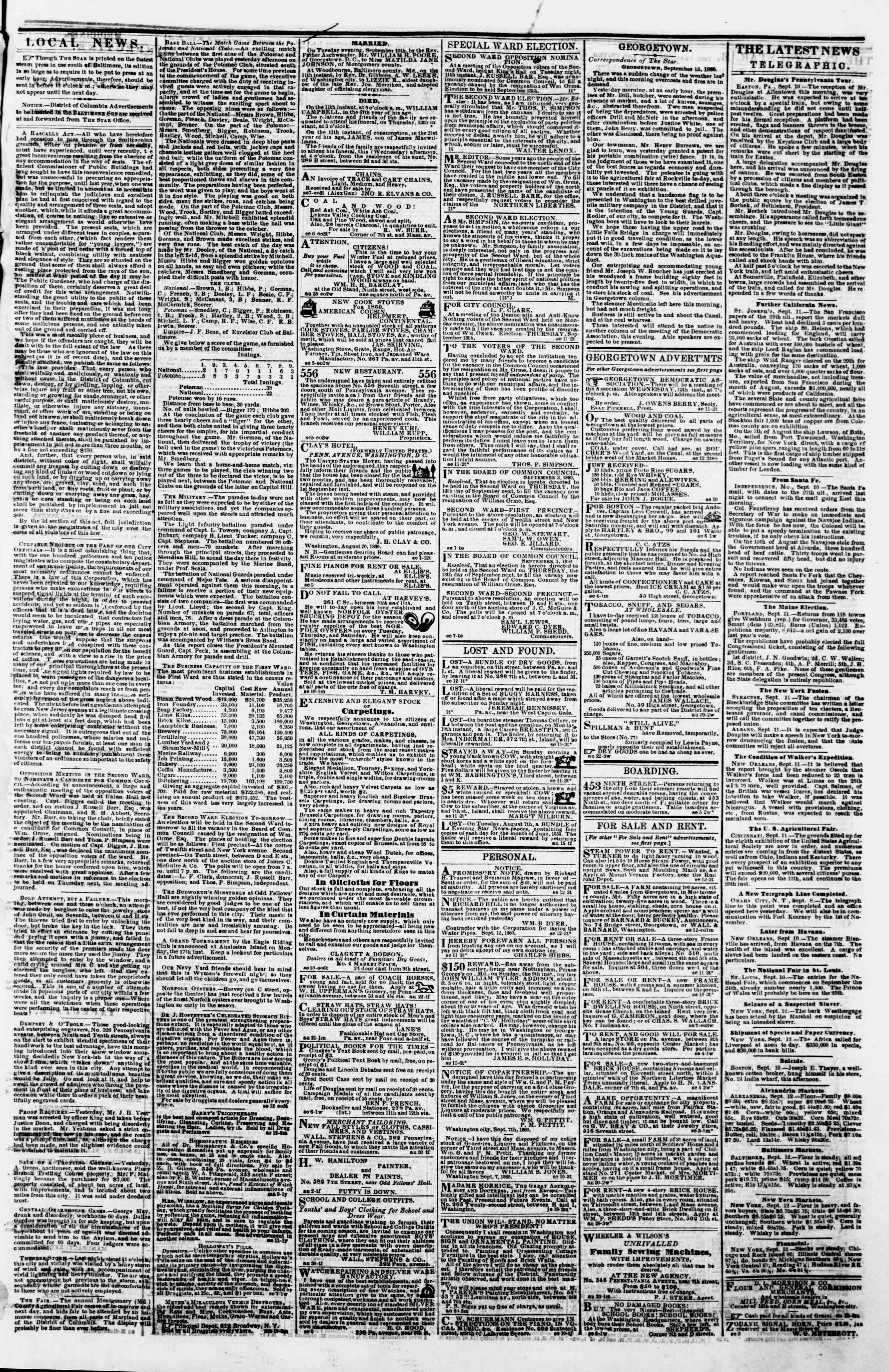 Newspaper of Evening Star dated September 12, 1860 Page 3