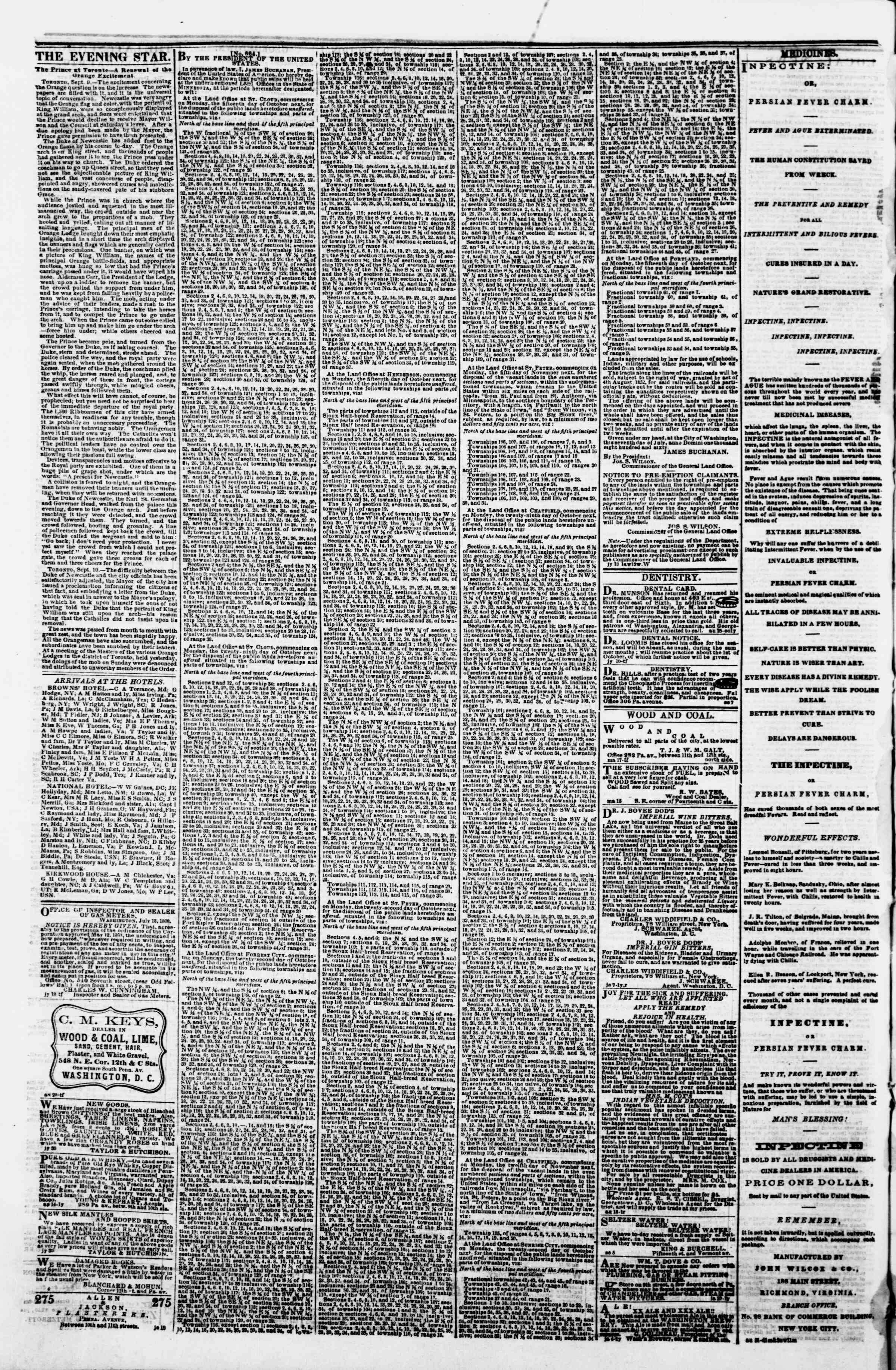 Newspaper of Evening Star dated September 12, 1860 Page 4