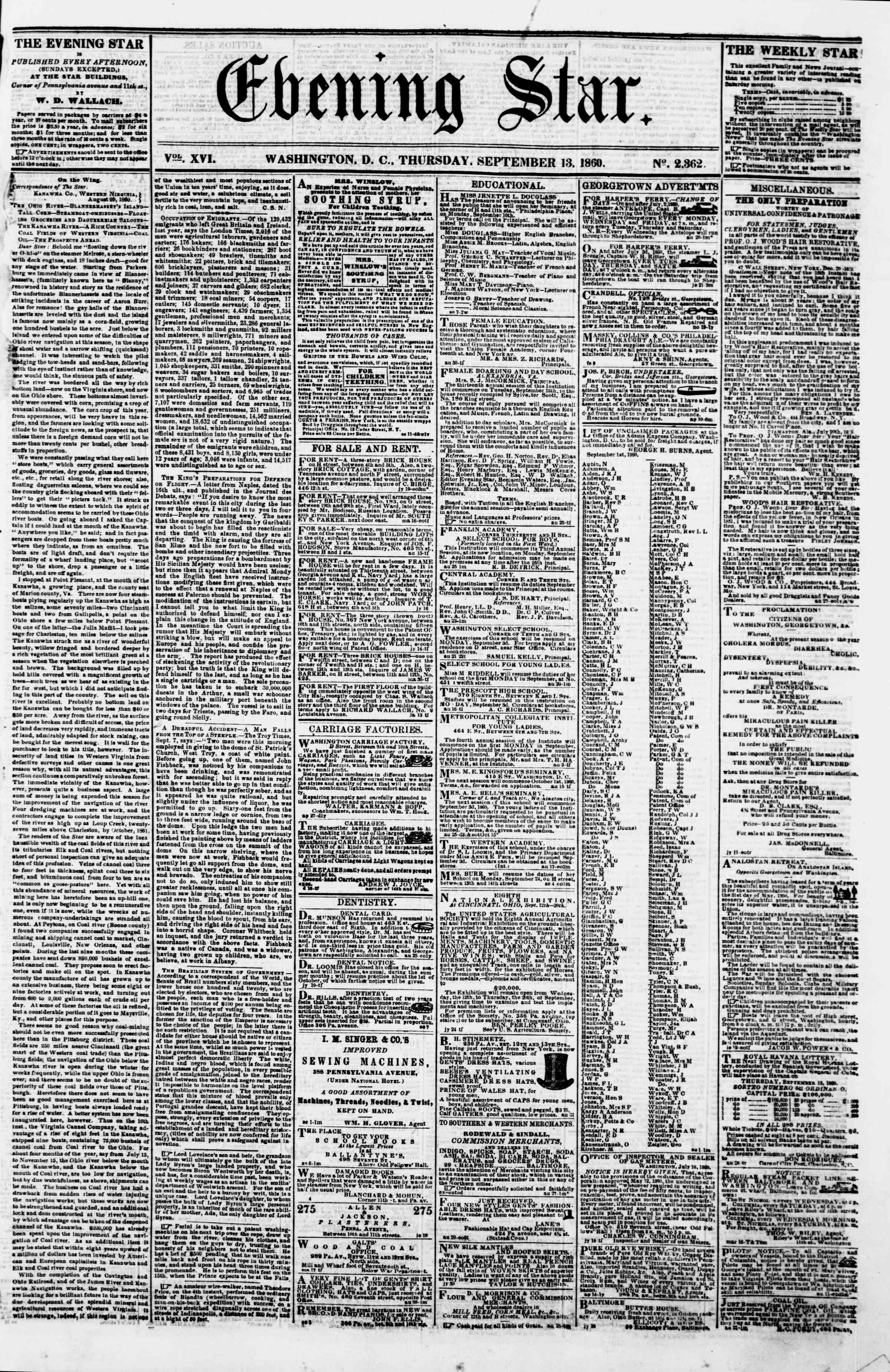 Newspaper of Evening Star dated September 13, 1860 Page 1