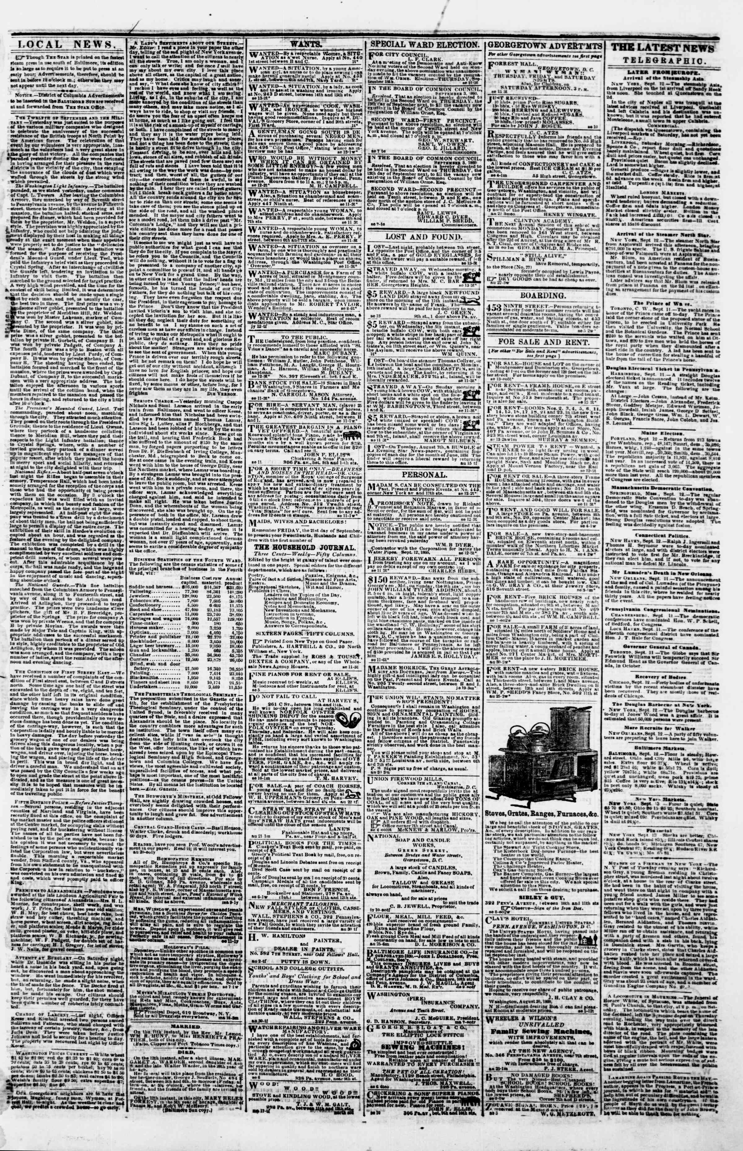 Newspaper of Evening Star dated September 13, 1860 Page 3