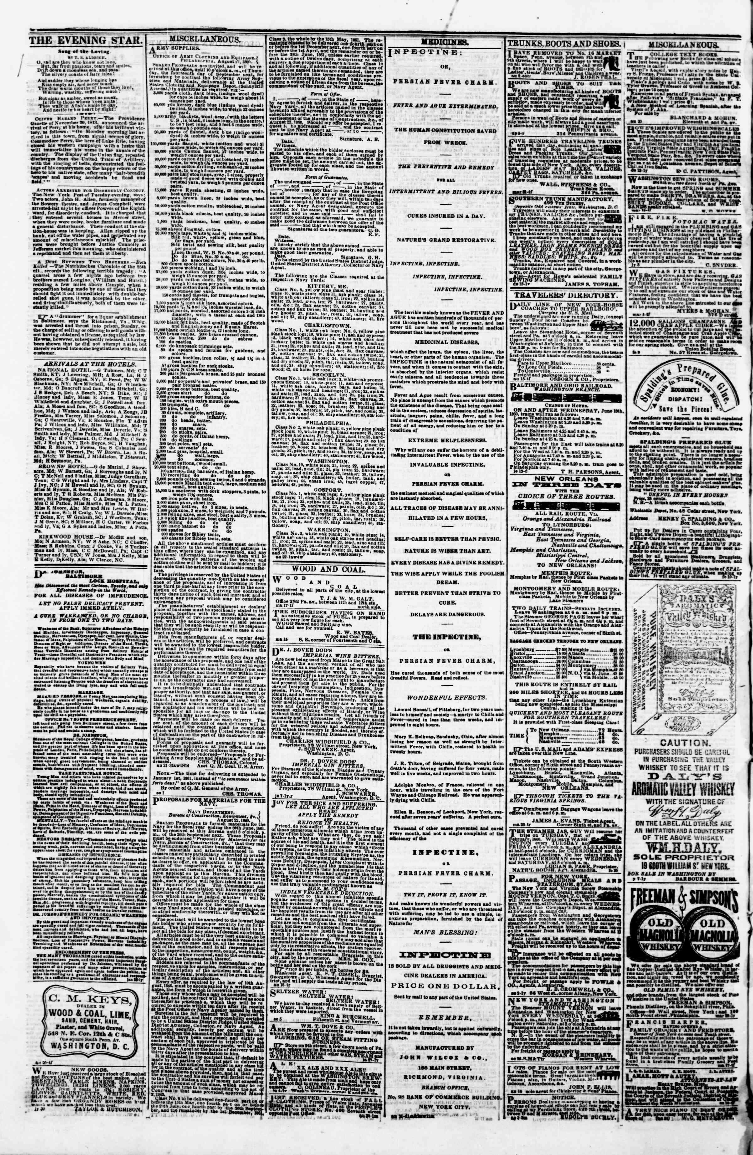 Newspaper of Evening Star dated September 13, 1860 Page 4